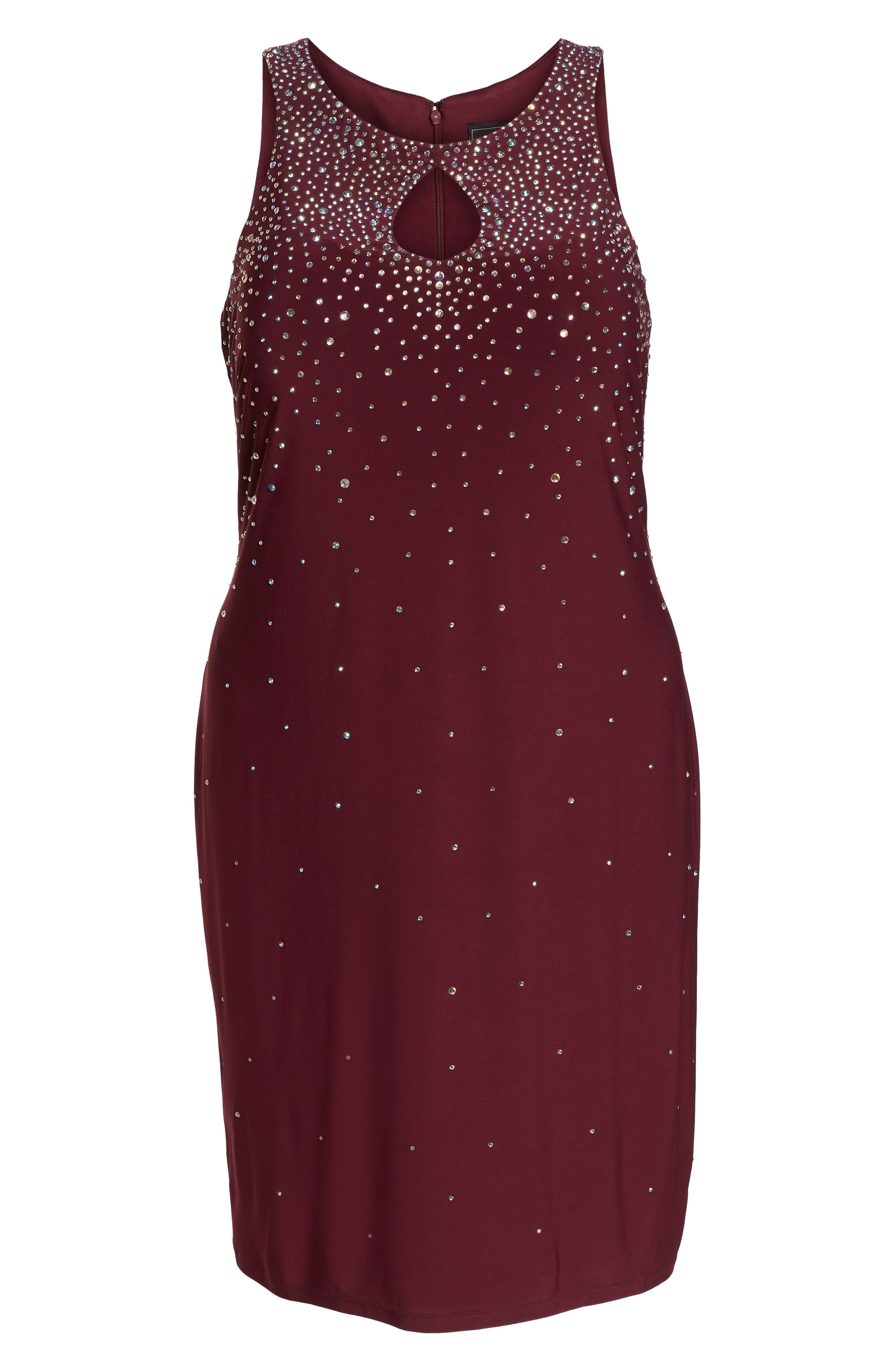 MORGAN & CO., Embellished Keyhole Neck Sheath Dress, Alternate thumbnail 7, color, MERLOT