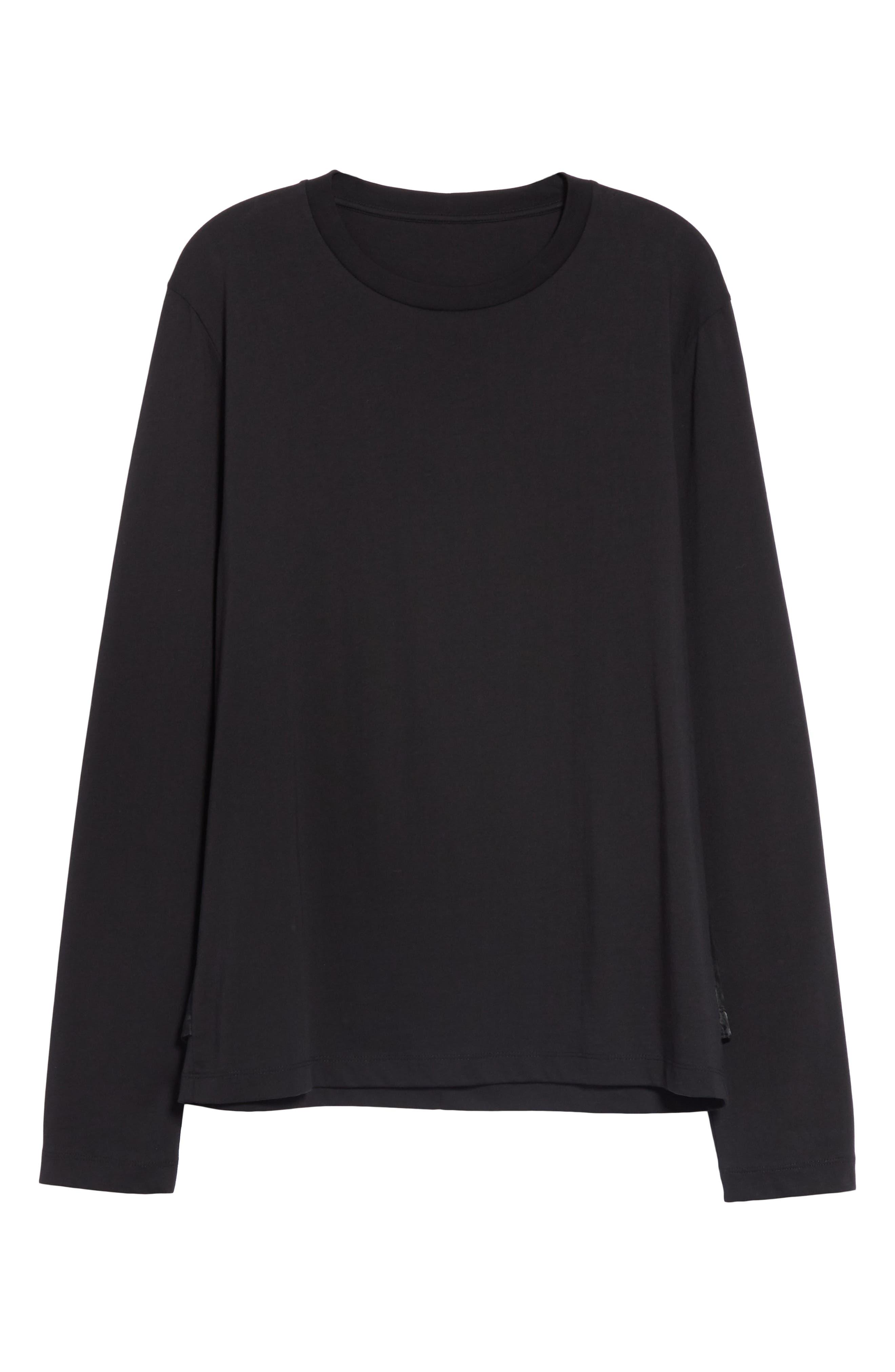 HELMUT LANG, Overlay Long Sleeve T-Shirt, Alternate thumbnail 6, color, BLACK