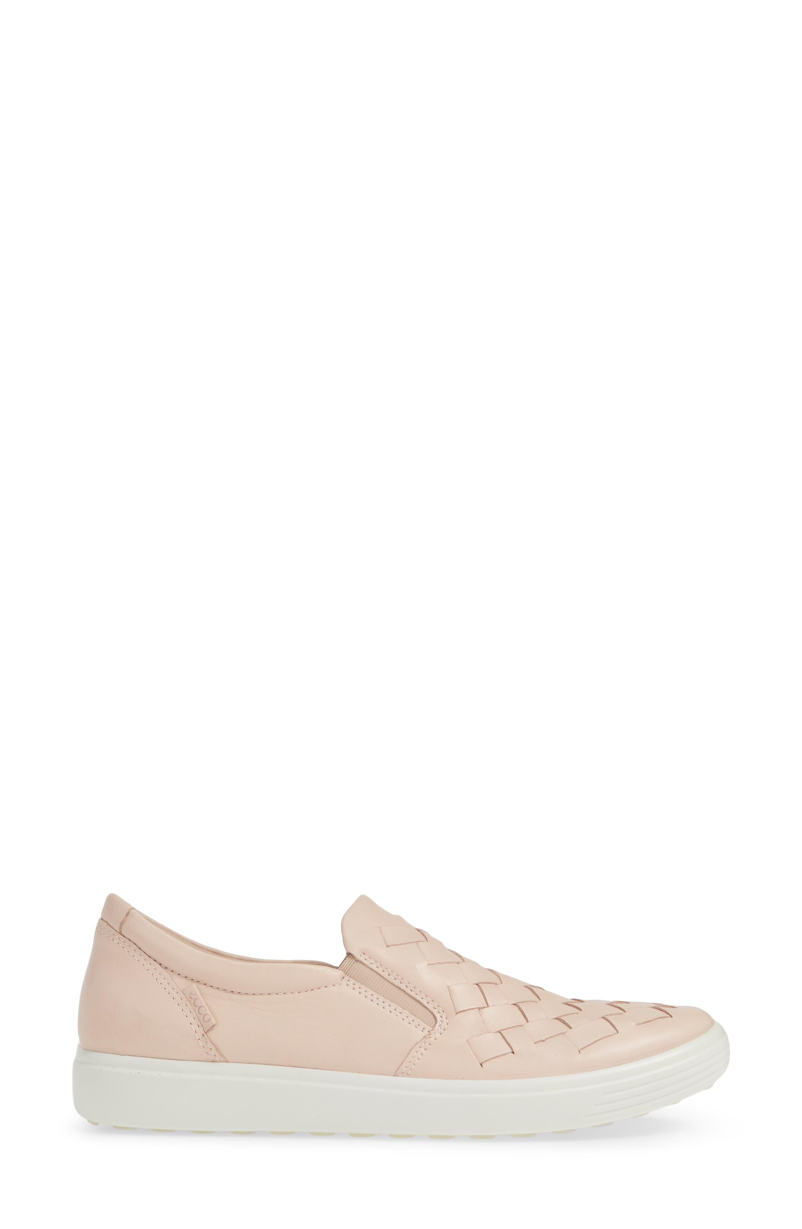 ECCO, Soft 7 Woven Slip-On Sneaker, Alternate thumbnail 3, color, ROSE DUST LEATHER