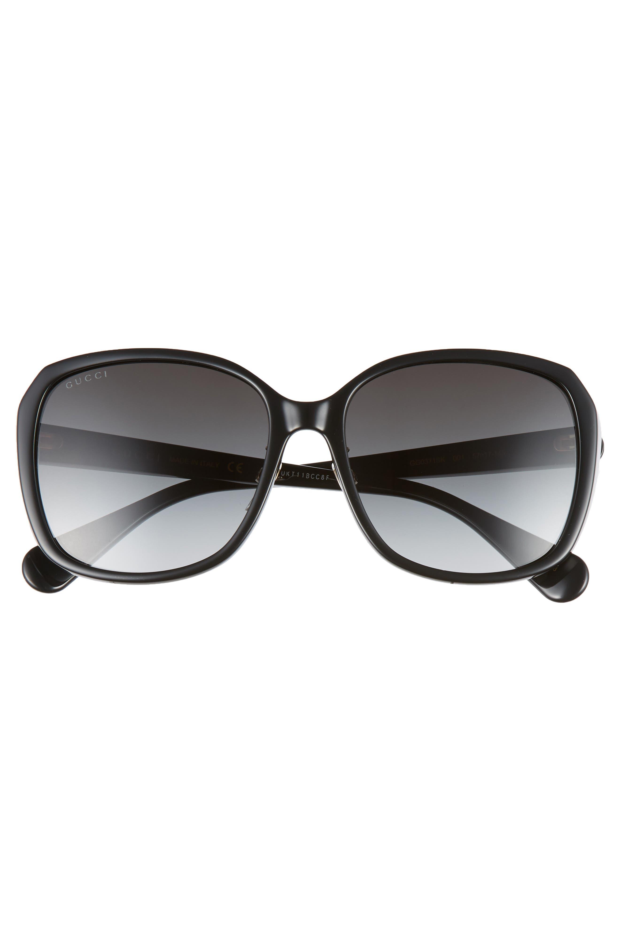 GUCCI, 57mm Square Sunglasses, Alternate thumbnail 3, color, BLACK