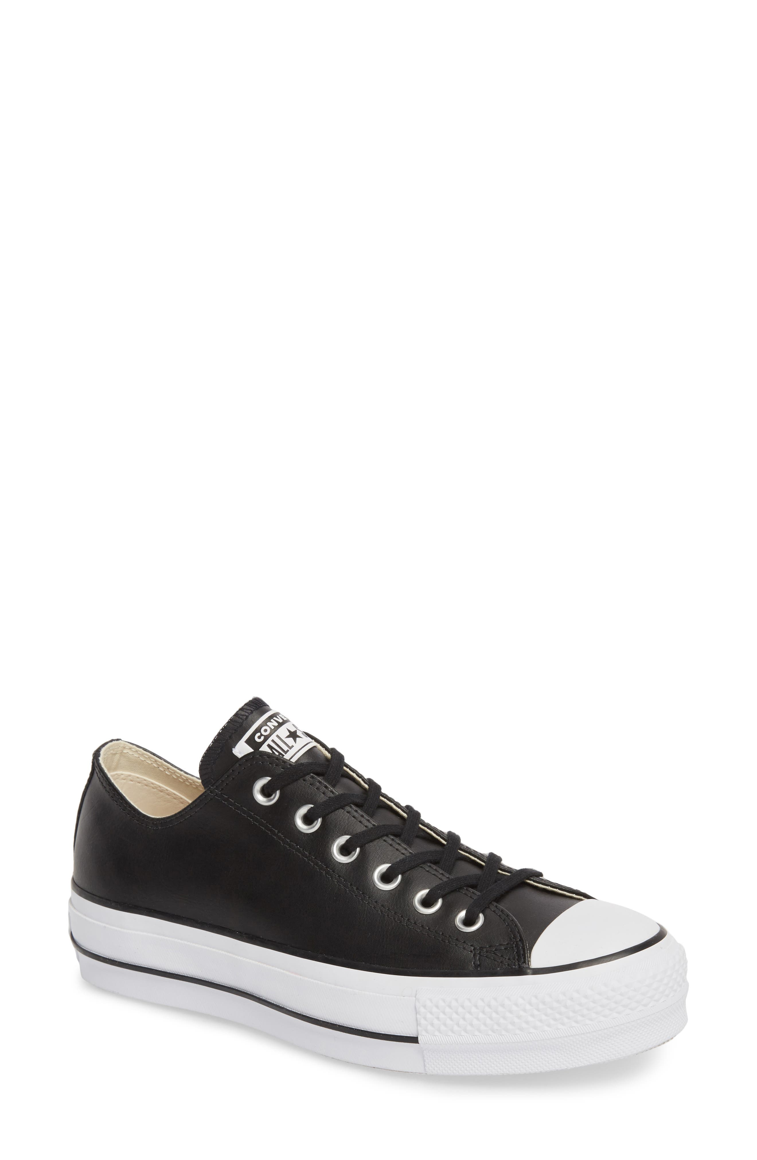 CONVERSE, Chuck Taylor<sup>®</sup> All Star<sup>®</sup> Platform Sneaker, Main thumbnail 1, color, BLACK/ BLACK LEATHER