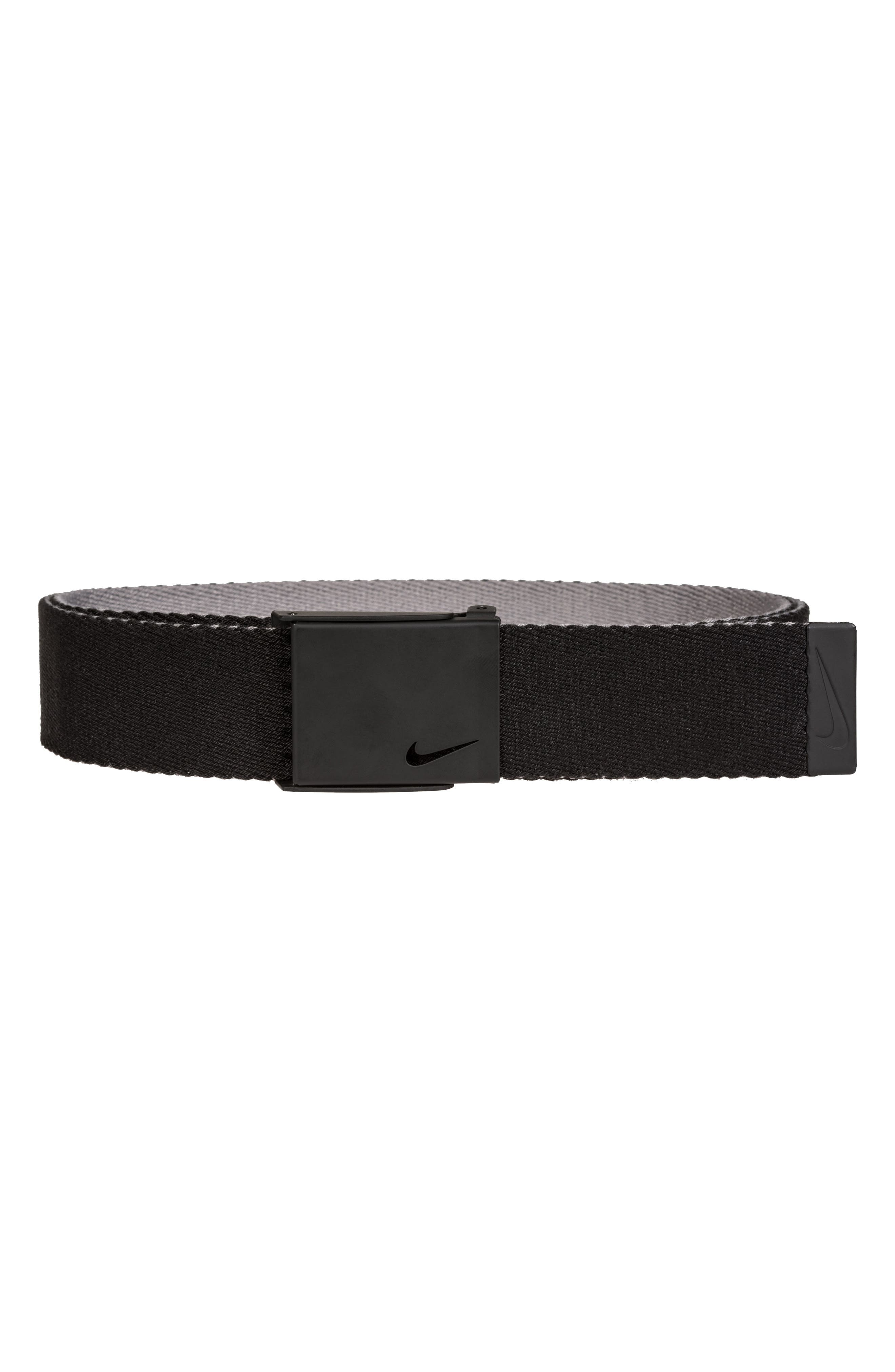 NIKE, Essentials Reversible Webbed Belt, Main thumbnail 1, color, BLACK/ CHARCOAL