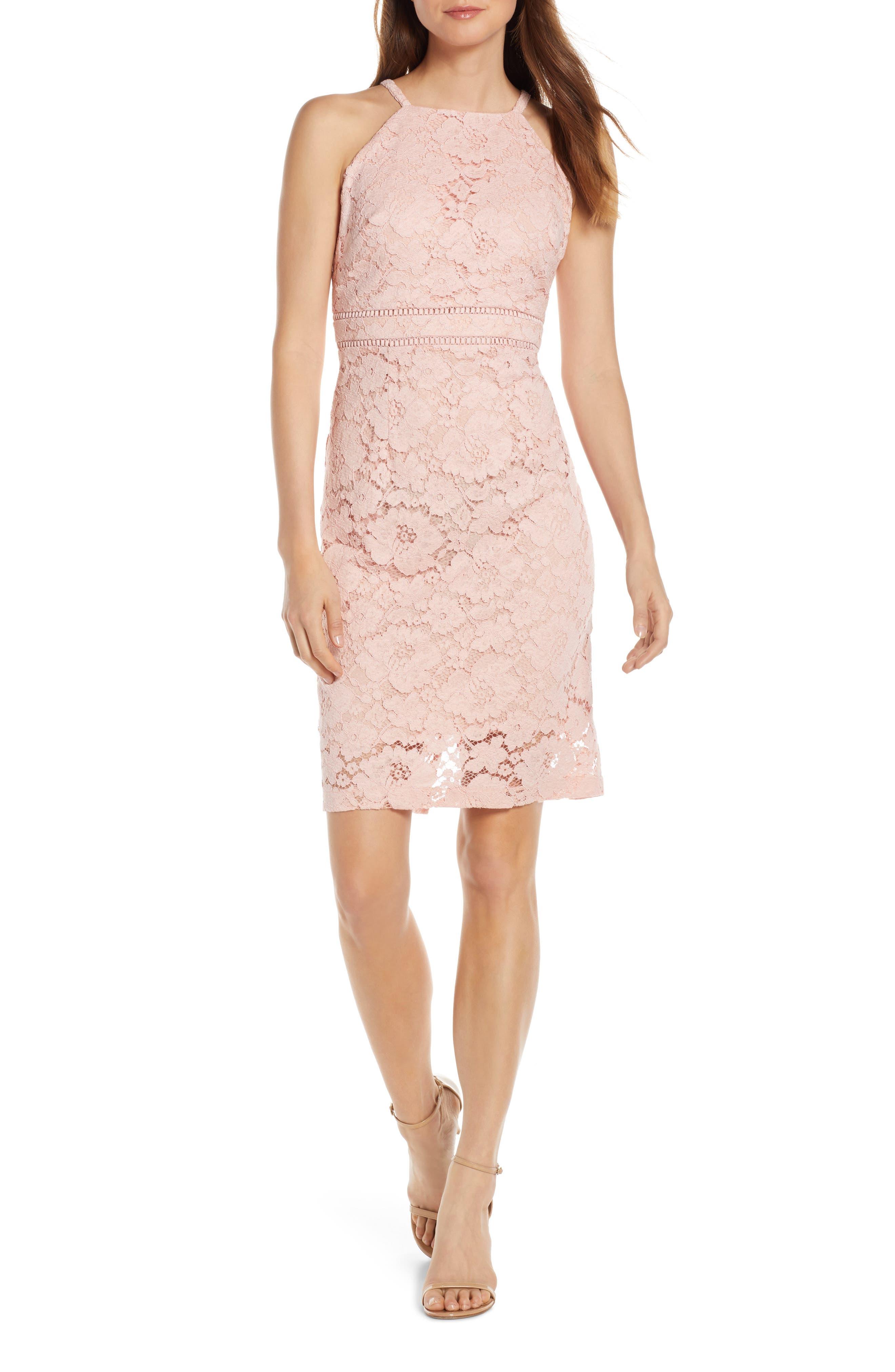 petite Sleeveless Lace Sheath Dress,