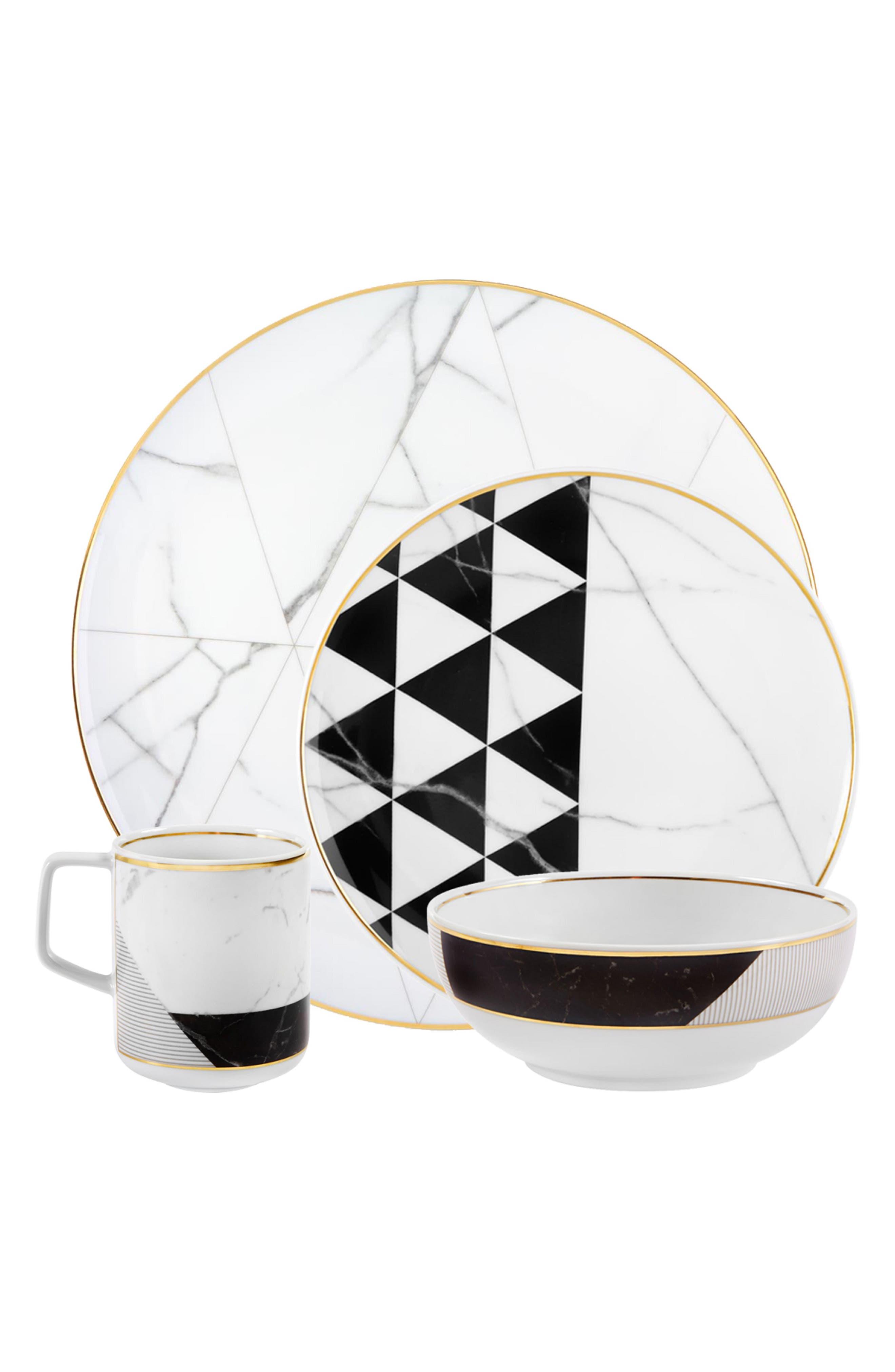 VISTA ALEGRE, Carrara 16-Piece Dinnerware Set, Main thumbnail 1, color, WHITE