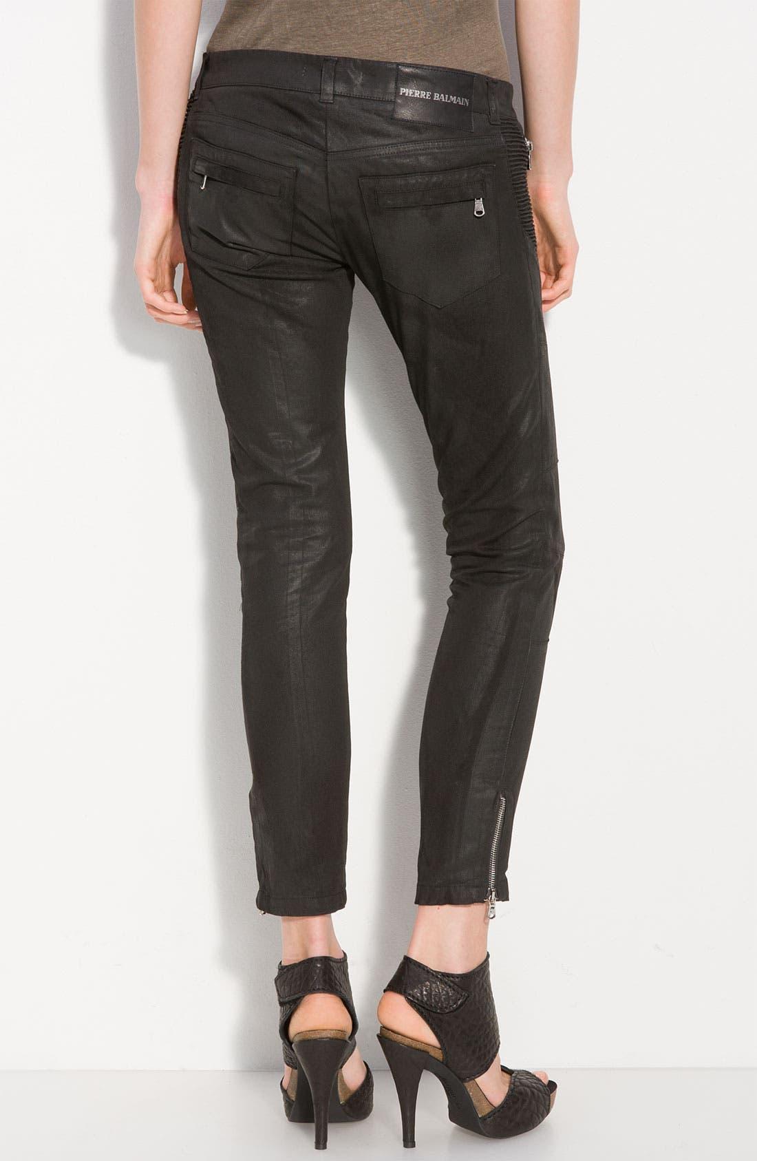PIERRE BALMAIN, Waxed Cotton Stretch Pants, Main thumbnail 1, color, 001