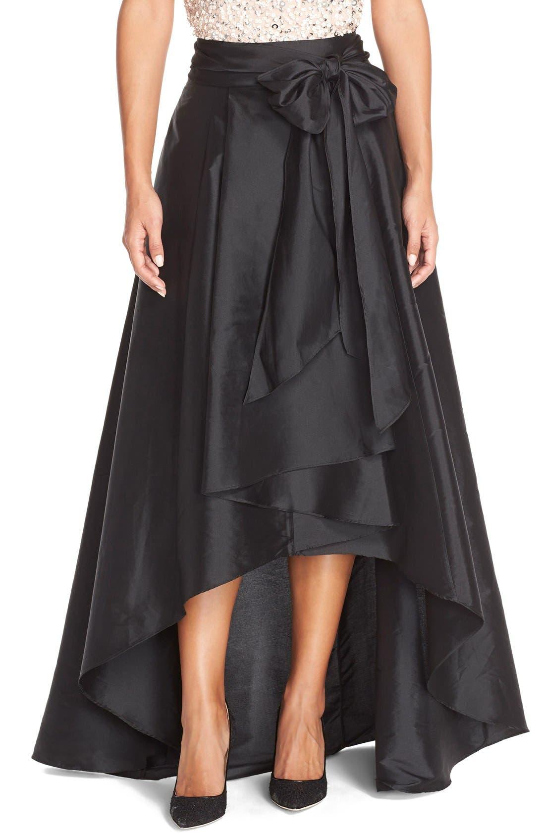 ADRIANNA PAPELL, High/Low Taffeta Ball Skirt, Alternate thumbnail 6, color, 001