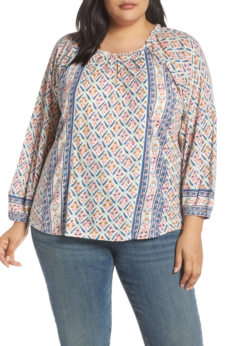 Lucky Brand Tops SHIRRED DETAIL PRINT BLOUSE