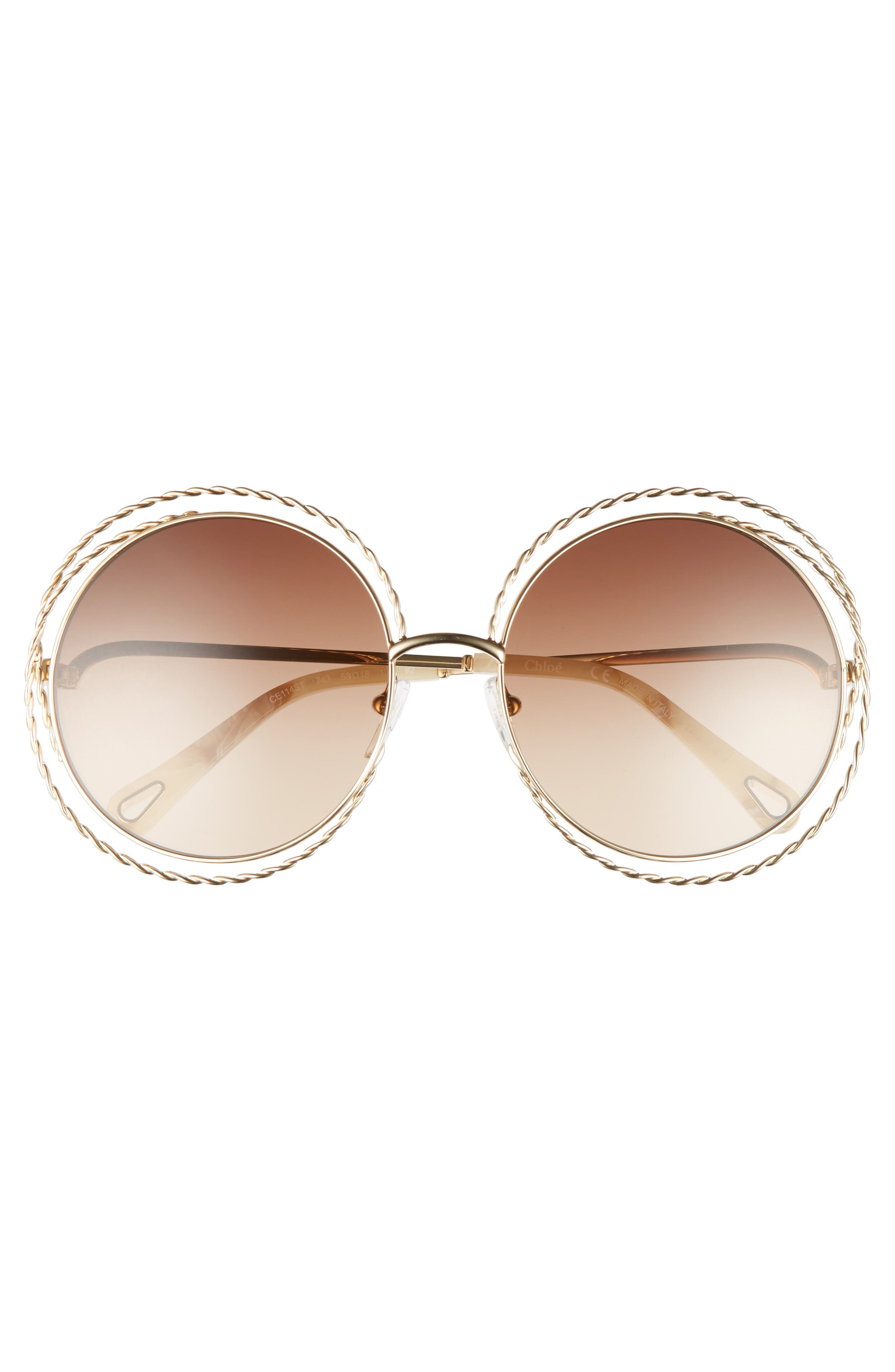 CHLOÉ, Carlina Torsade 58mm Round Sunglasses, Alternate thumbnail 3, color, GOLD/ BROWN