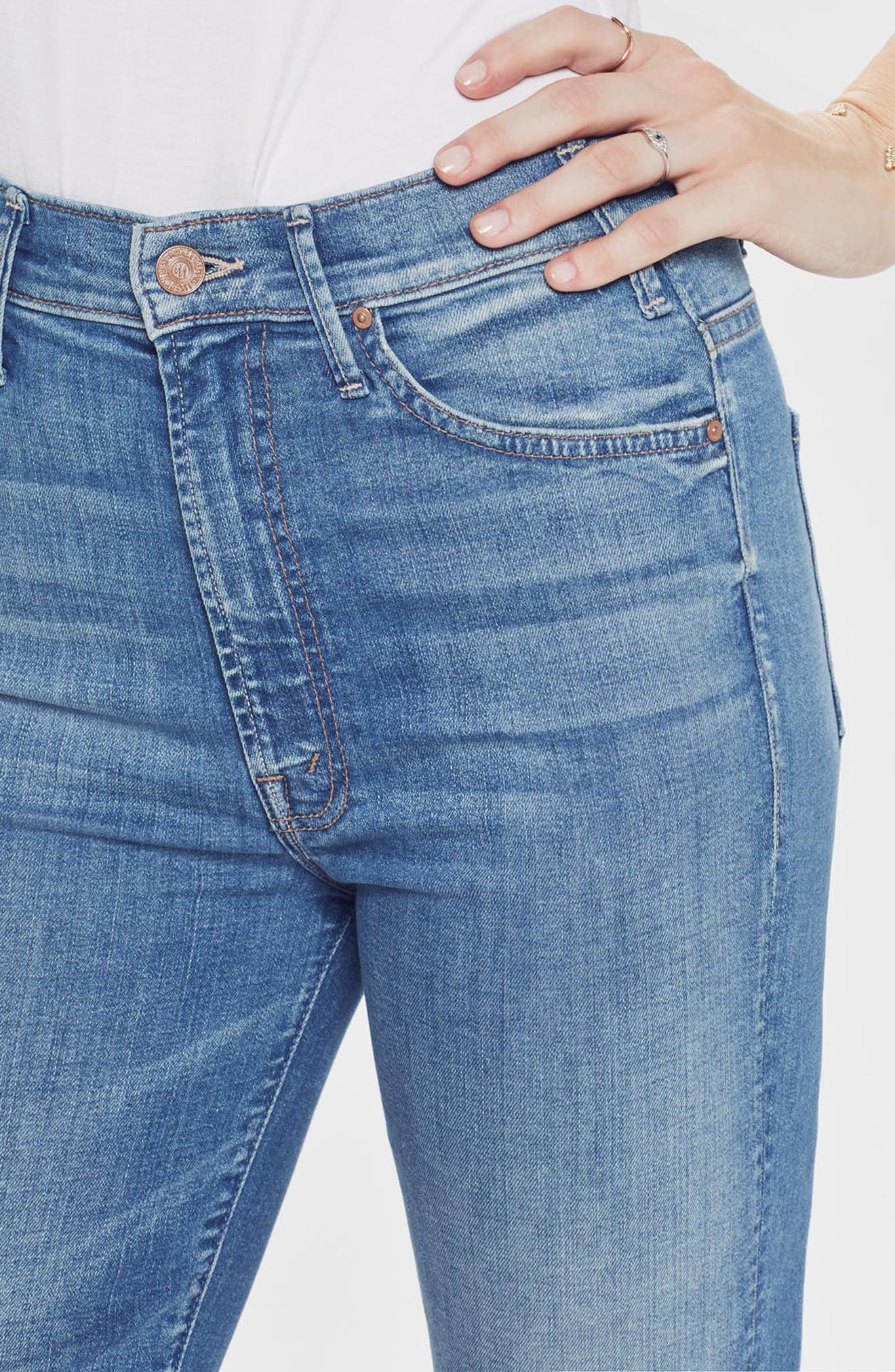 MOTHER, The Hustler High Waist Ankle Flare Jeans, Alternate thumbnail 7, color, WISHFUL DRINKING