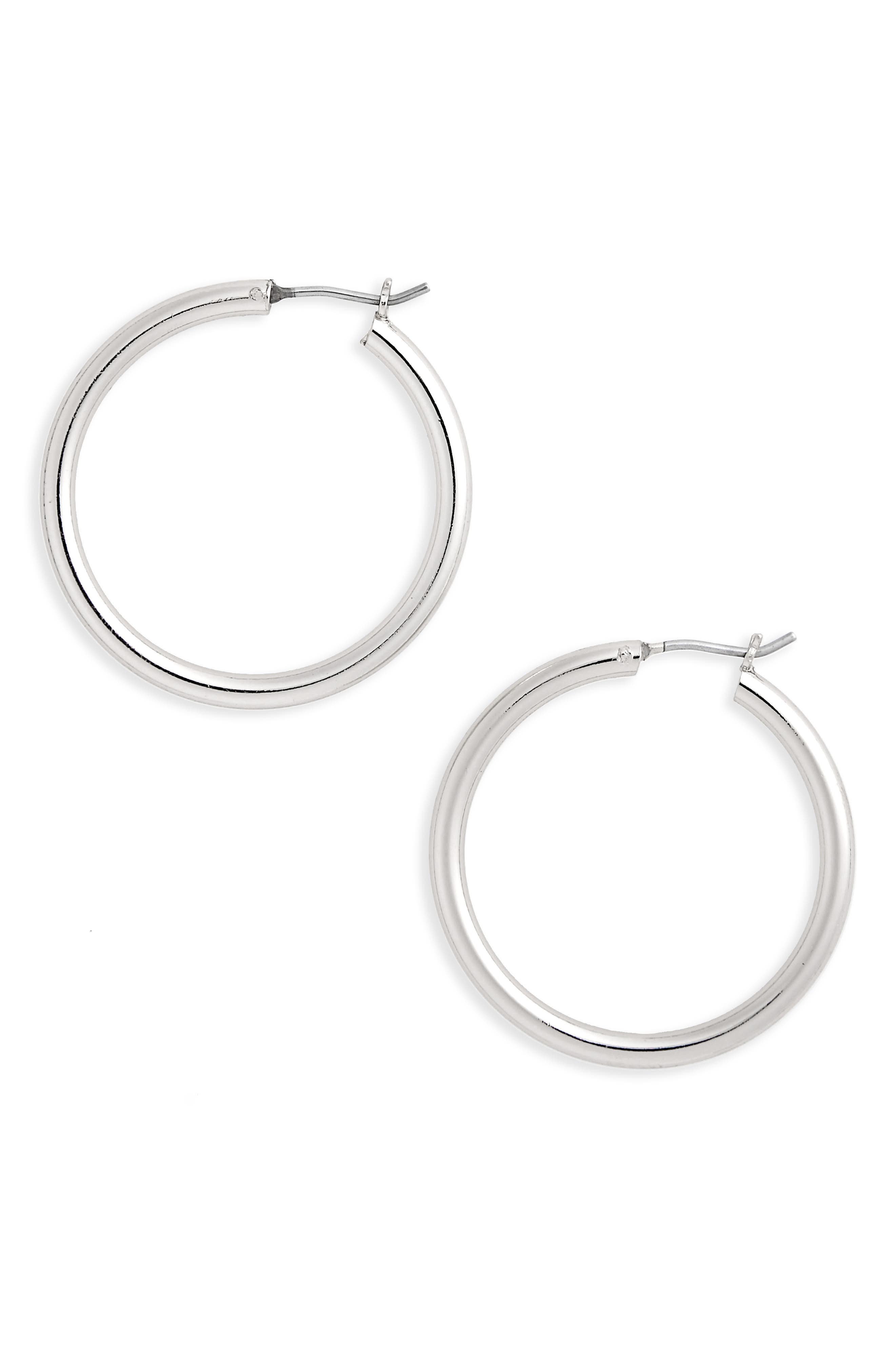 HALOGEN<SUP>®</SUP> Medium Endless Hoops, Main, color, RHODIUM