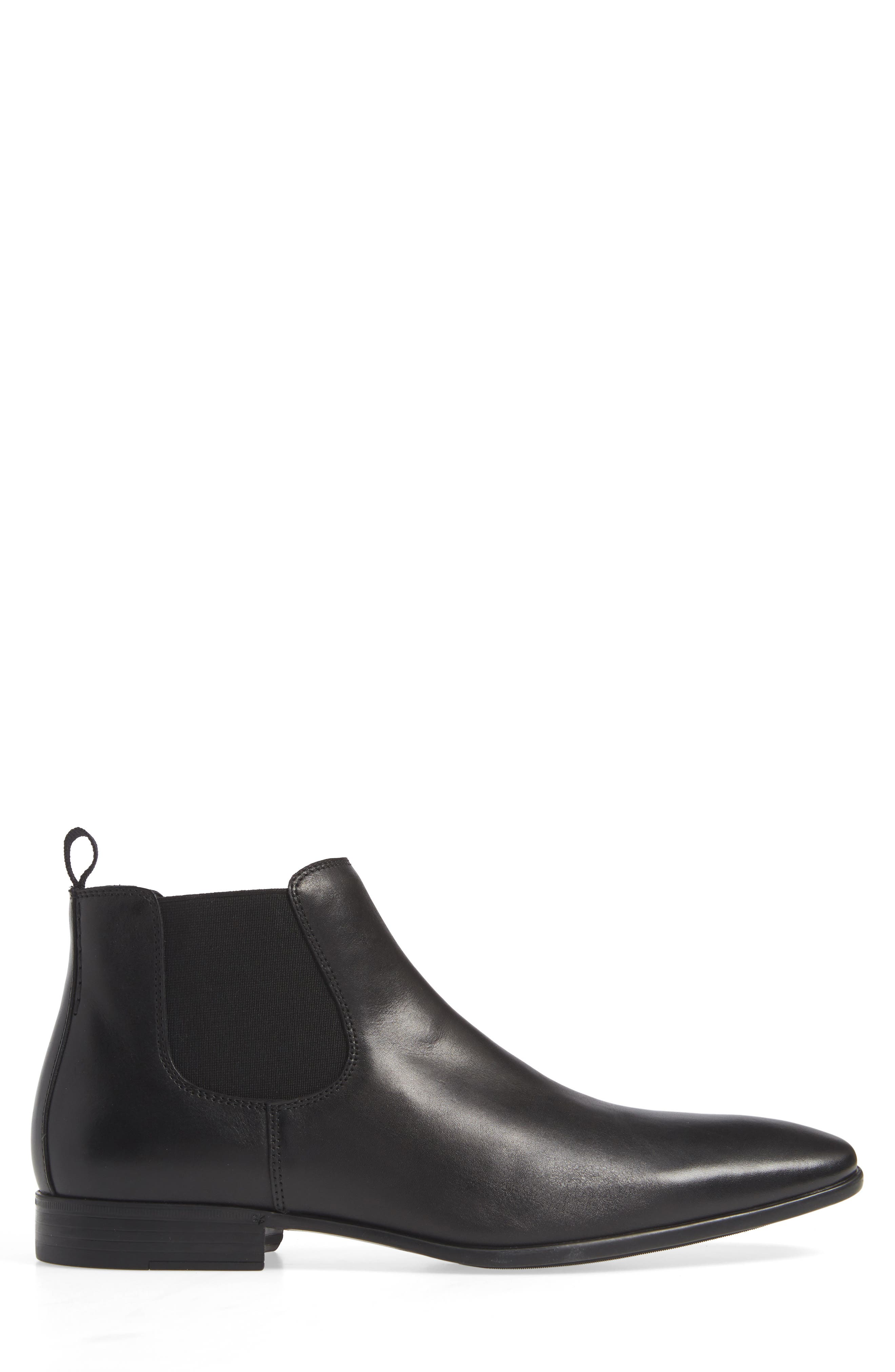 THE RAIL, Knox Chelsea Boot, Alternate thumbnail 3, color, BLACK LEATHER
