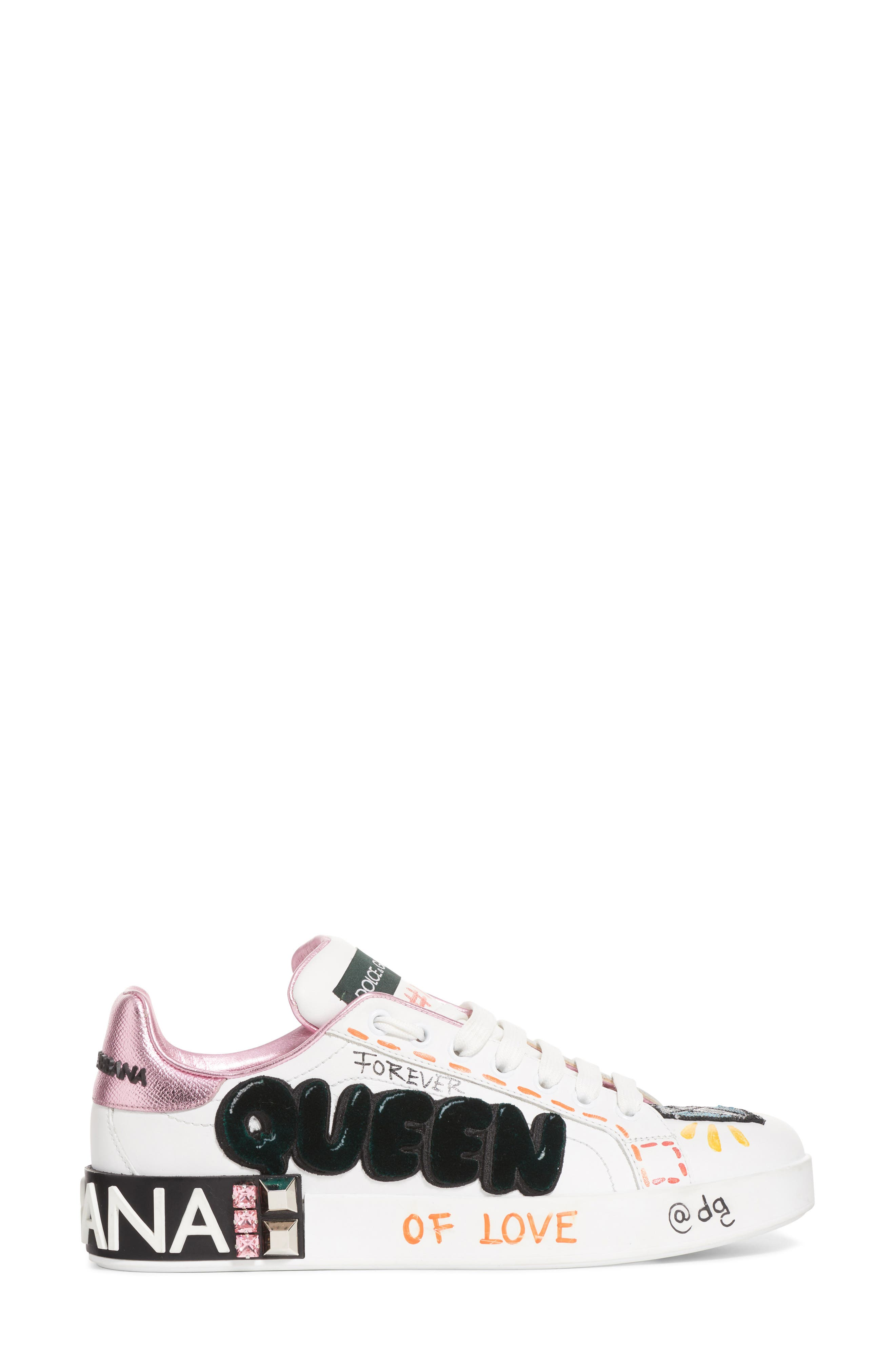DOLCE&GABBANA, Queen Graffiti Lace-Up Sneaker, Alternate thumbnail 3, color, 110