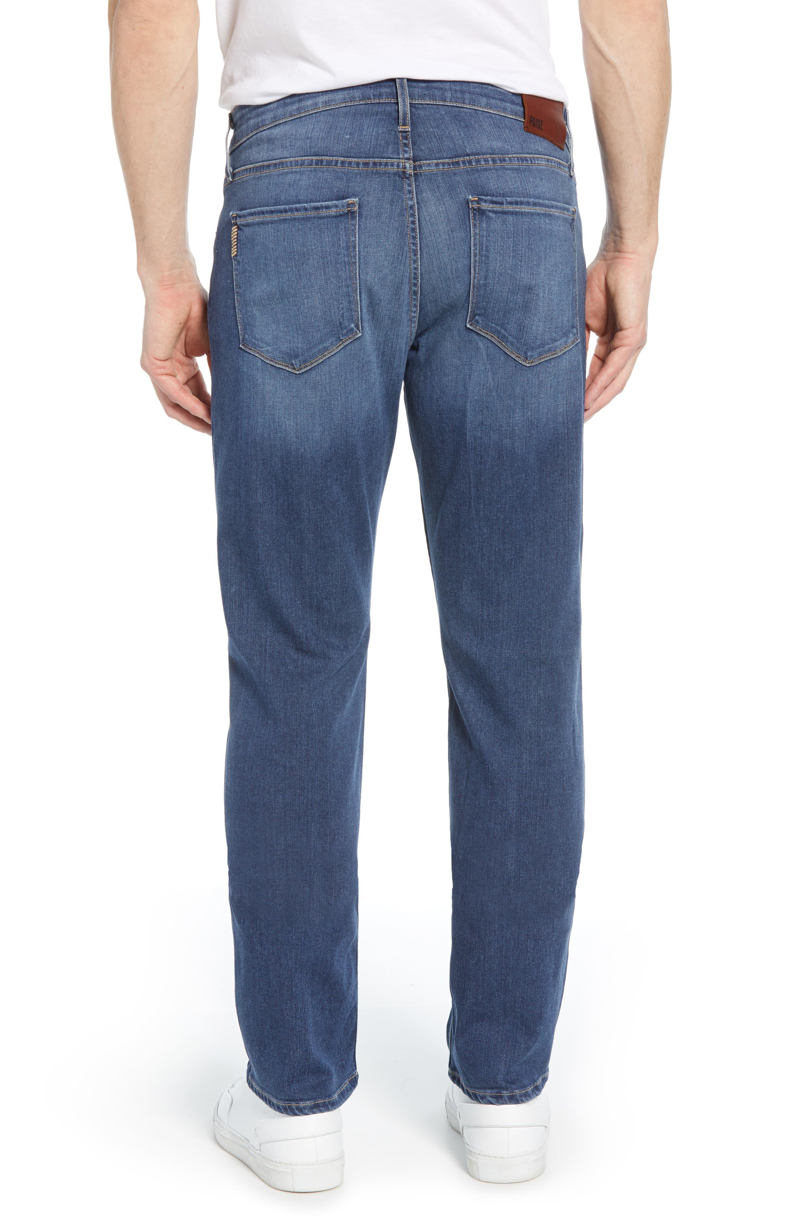PAIGE, Transcend - Normandie Straight Leg Jeans, Alternate thumbnail 3, color, BIRCH