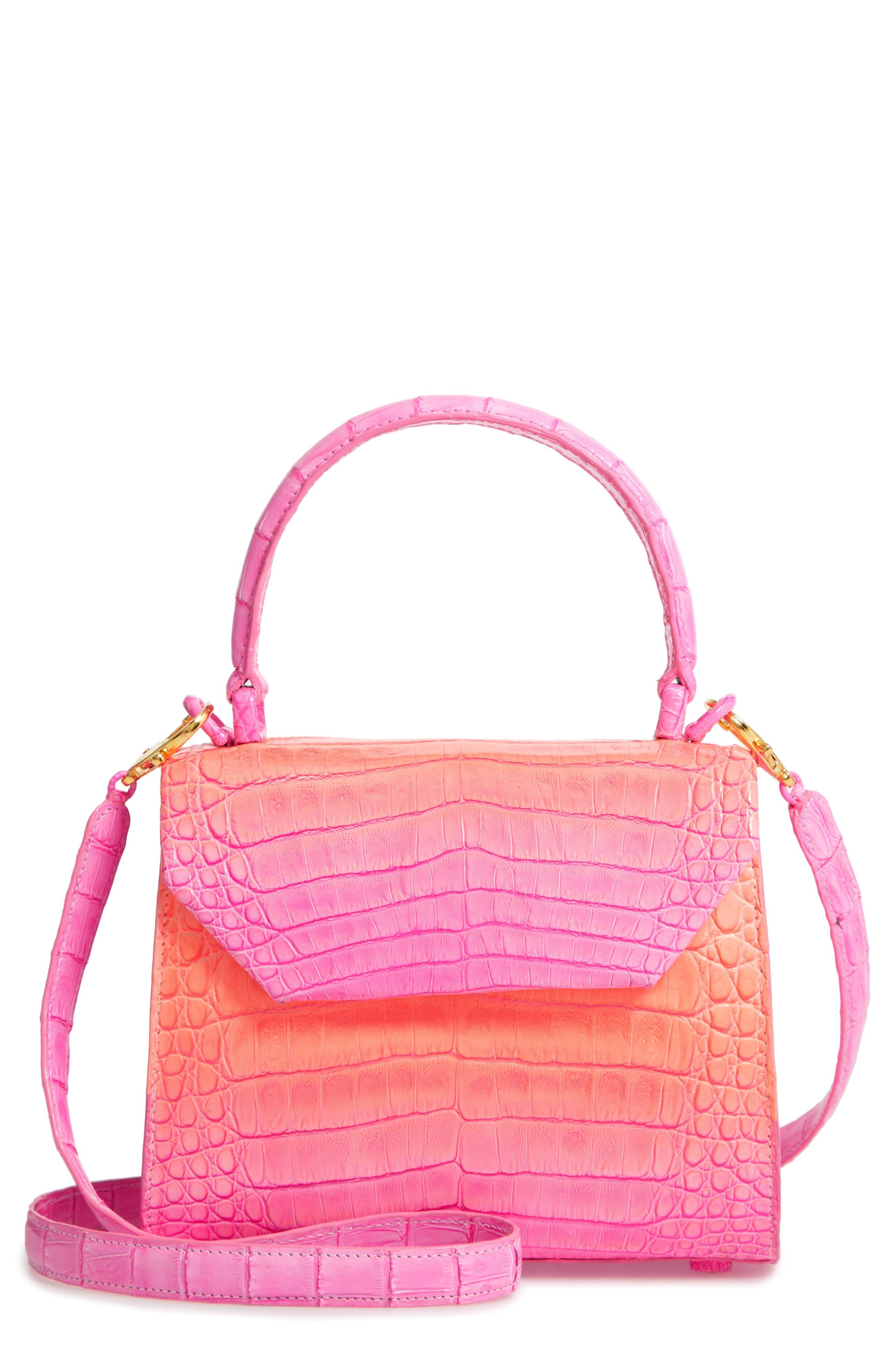 NANCY GONZALEZ, Mini Lily Genuine Crocodile Crossbody Bag, Main thumbnail 1, color, PINK DEGRADE