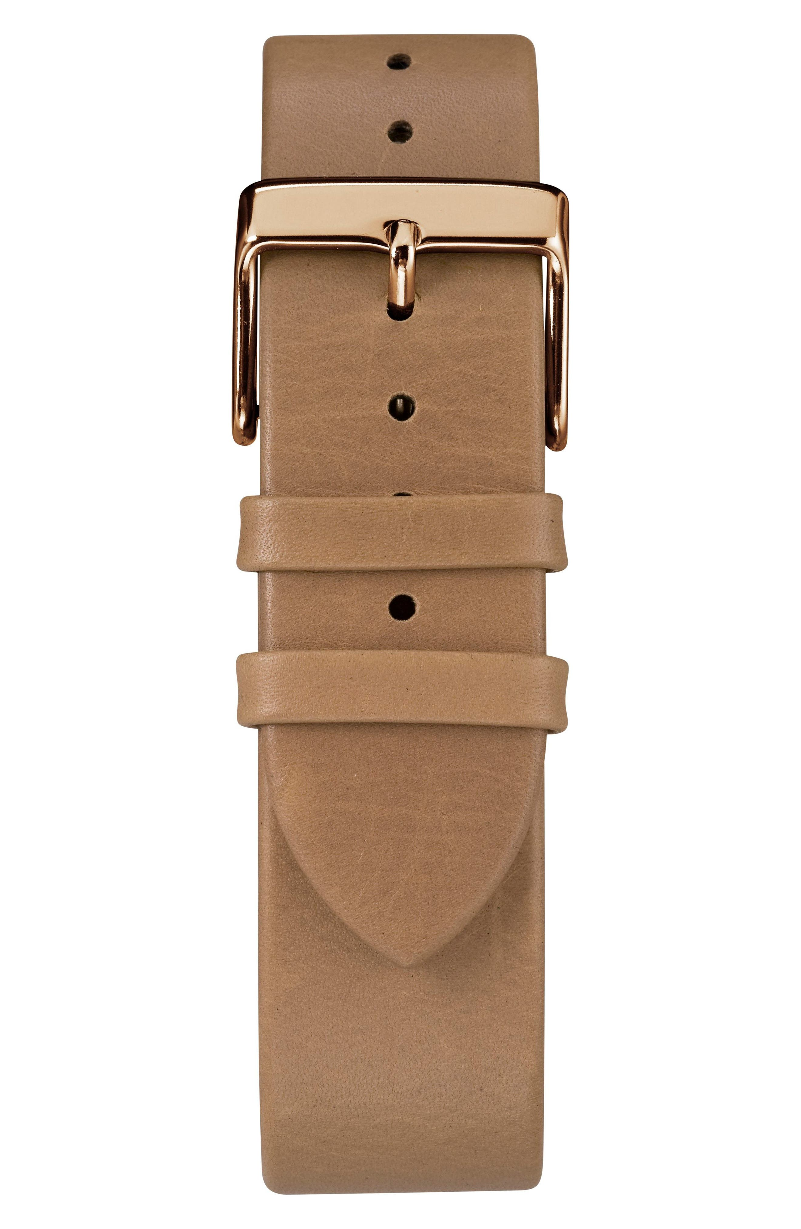 TIMEX<SUP>®</SUP>, Fairfield Leather Strap Watch, 41mm, Alternate thumbnail 3, color, BROWN/ CREAM/ ROSE GOLD