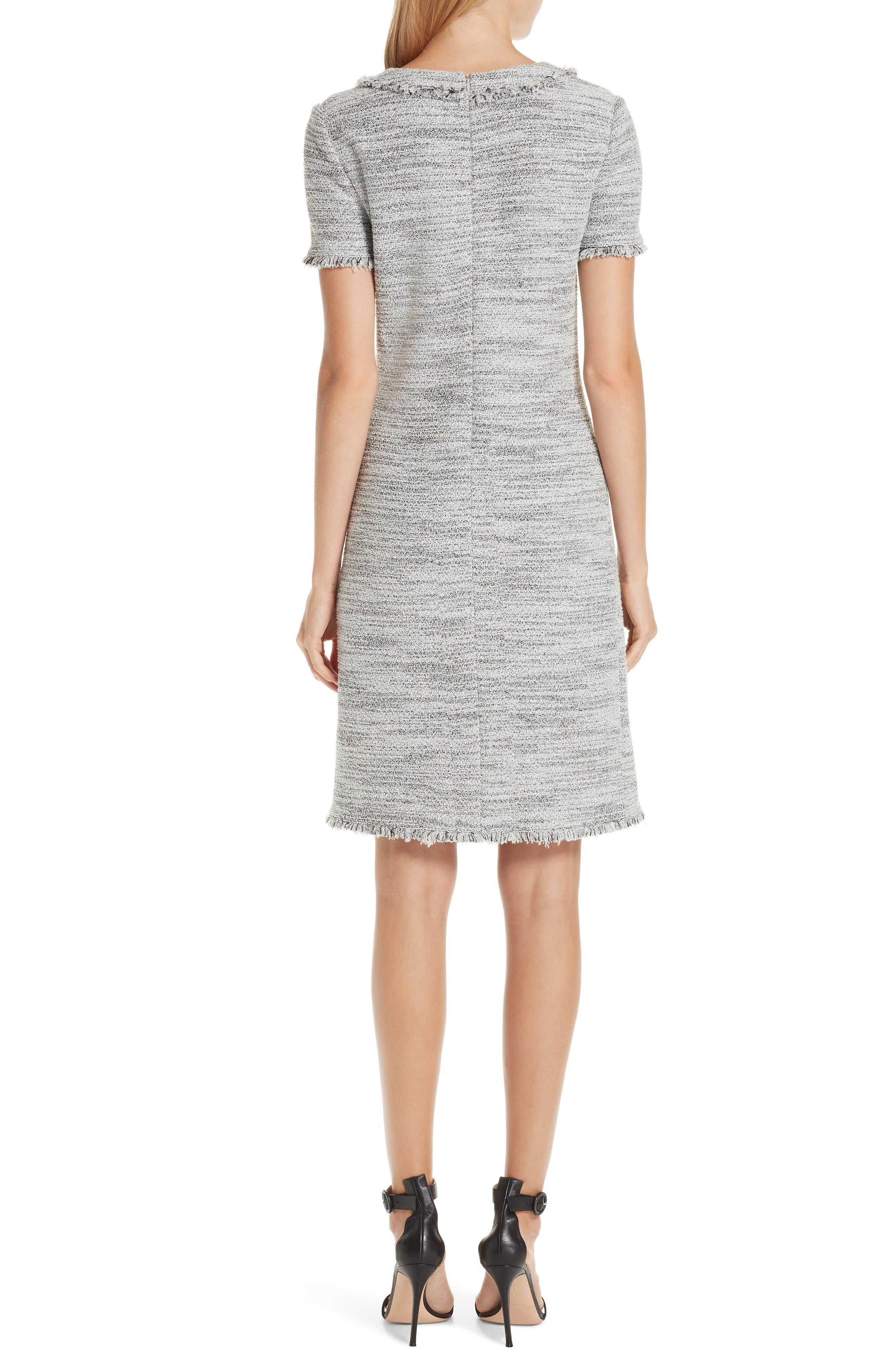 ST. JOHN COLLECTION, Eaton Place Tweed Knit Dress, Alternate thumbnail 2, color, CAVIAR/ CREAM