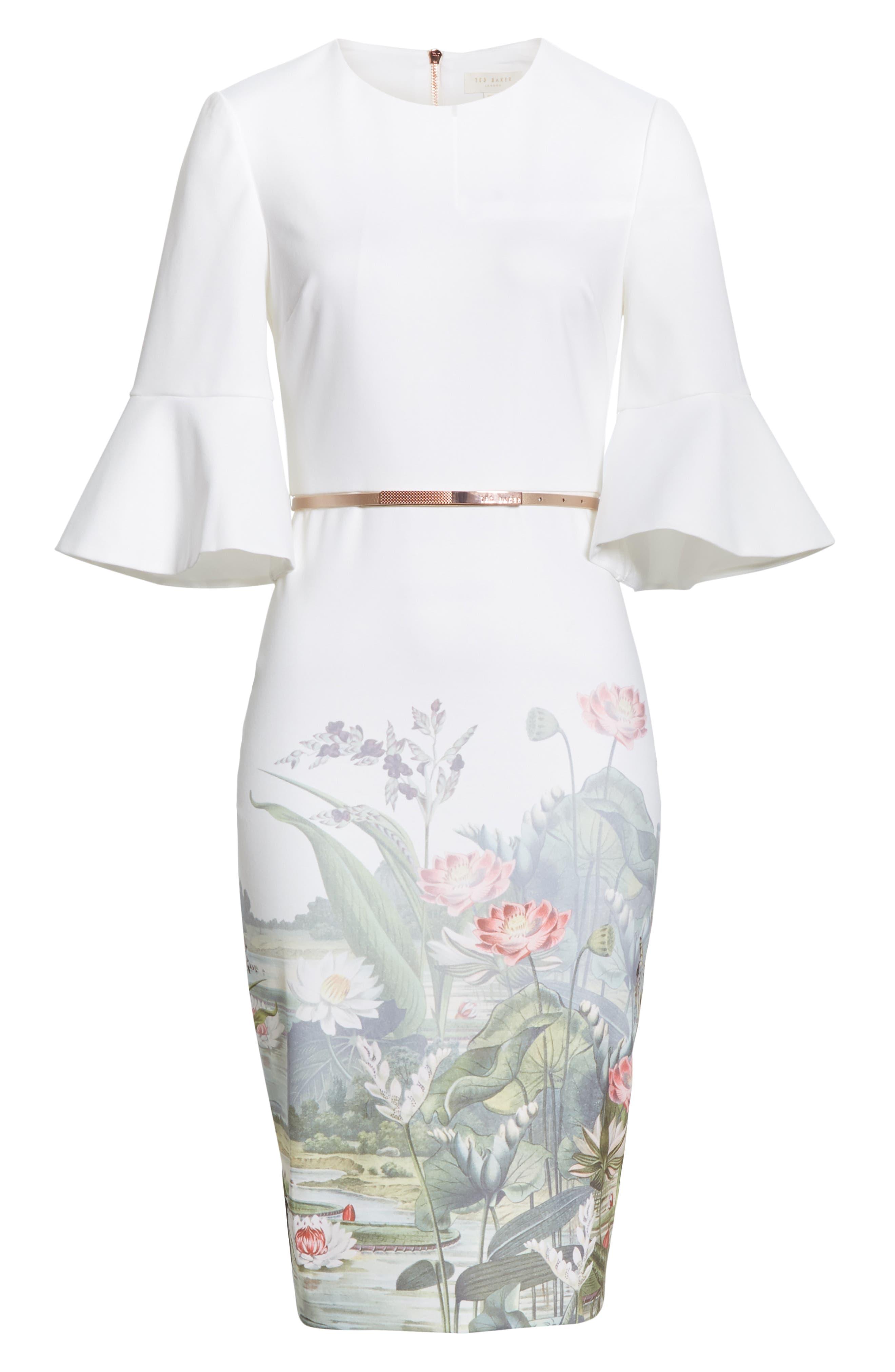 TED BAKER LONDON, Azania Wonderland Body-Con Dress, Alternate thumbnail 7, color, 900