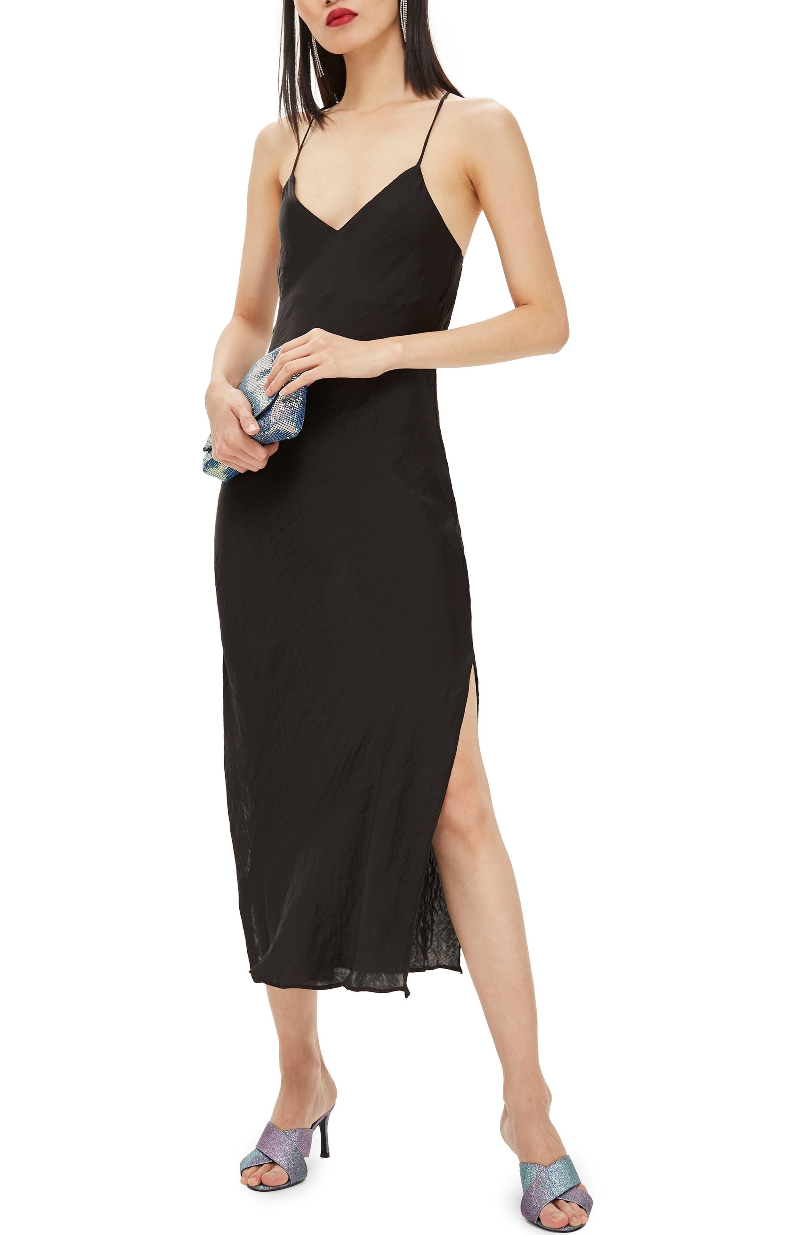 TOPSHOP Plain Satin Slipdress, Main, color, BLACK