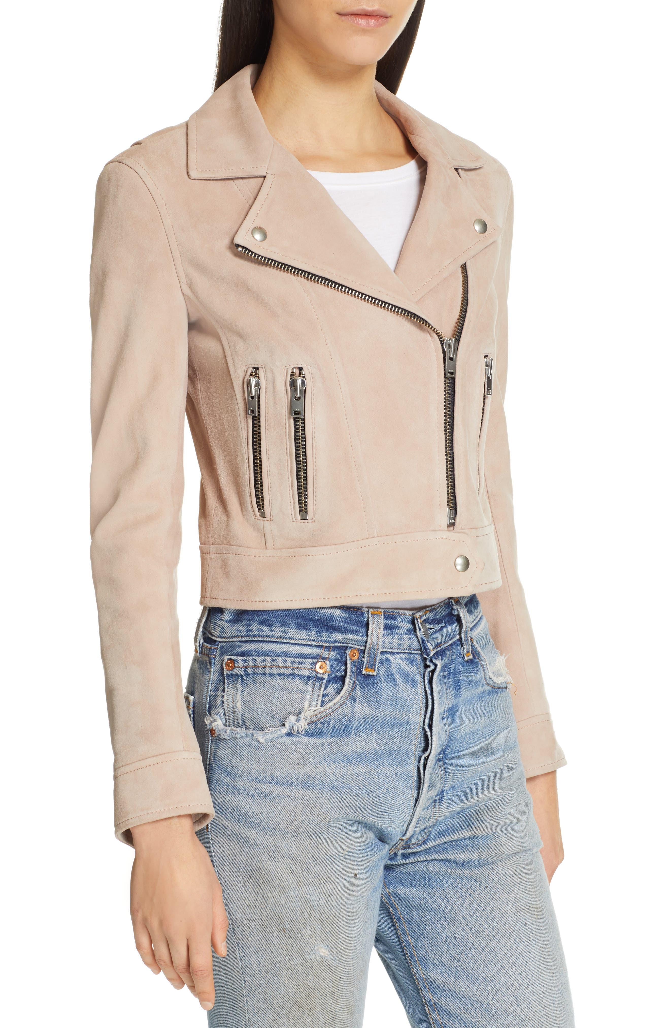 IRO, Dembey Leather Moto Jacket, Alternate thumbnail 5, color, PINK/ GREY