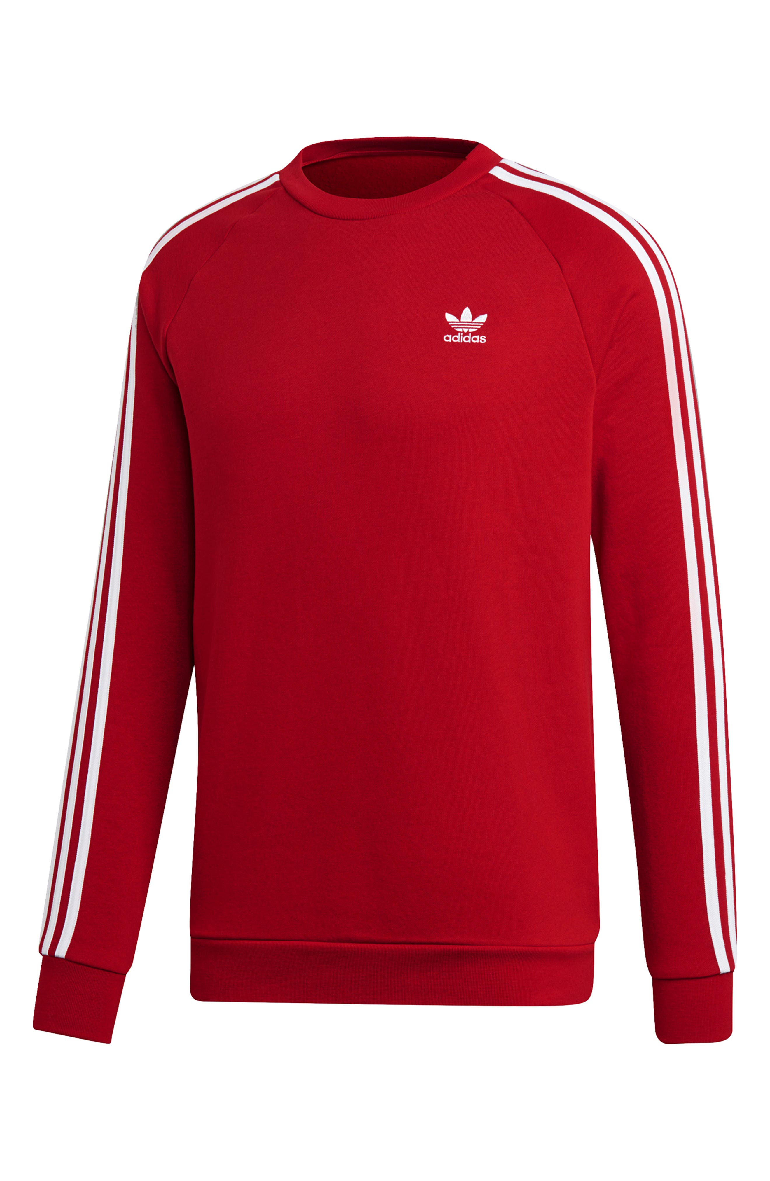 ADIDAS ORIGINALS, 3-Stripes Raglan Sweatshirt, Alternate thumbnail 5, color, POWER RED