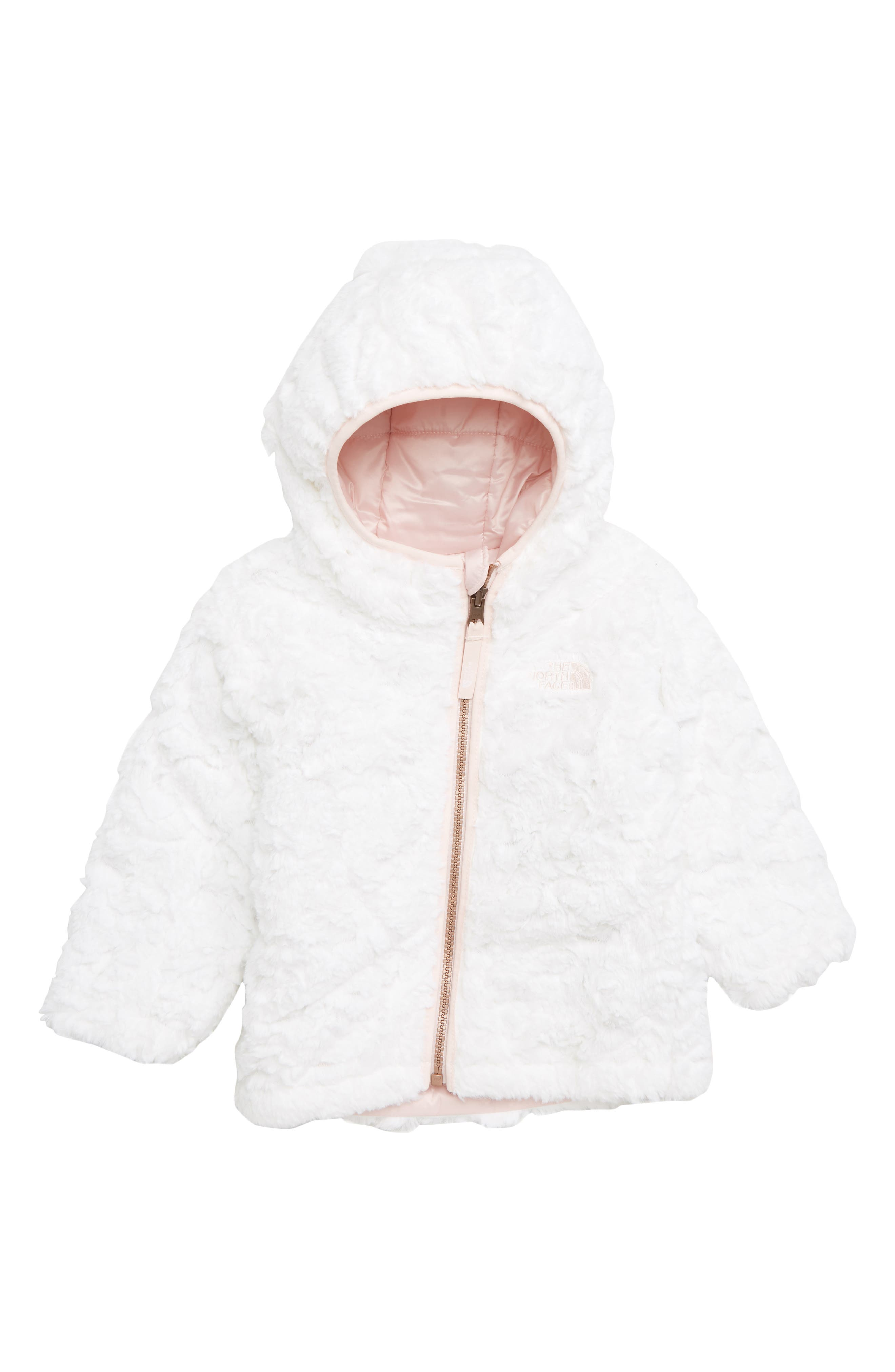 THE NORTH FACE, Mossbud Swirl Reversible Water Repellent Jacket, Alternate thumbnail 2, color, PURDY PINK
