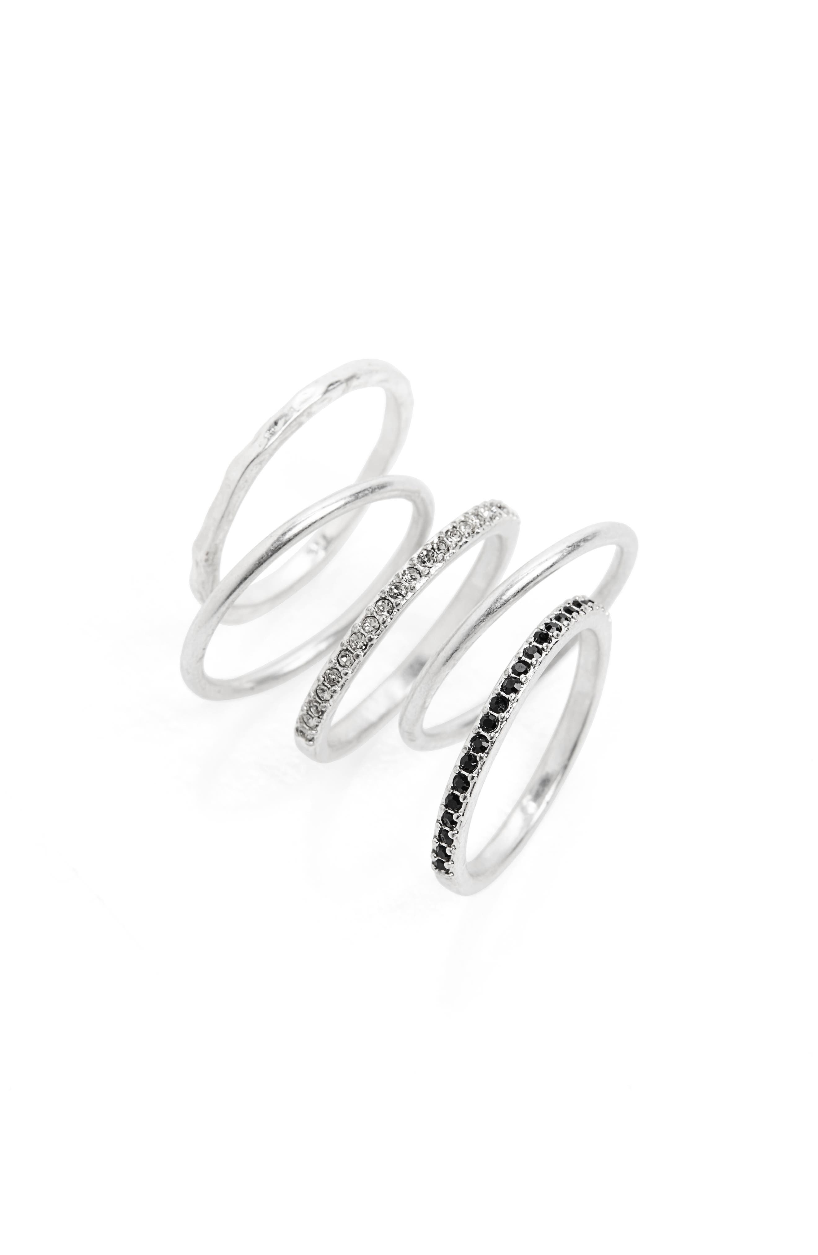 MADEWELL, Filament Set of 5 Stacking Rings, Main thumbnail 1, color, LIGHT SILVER OX