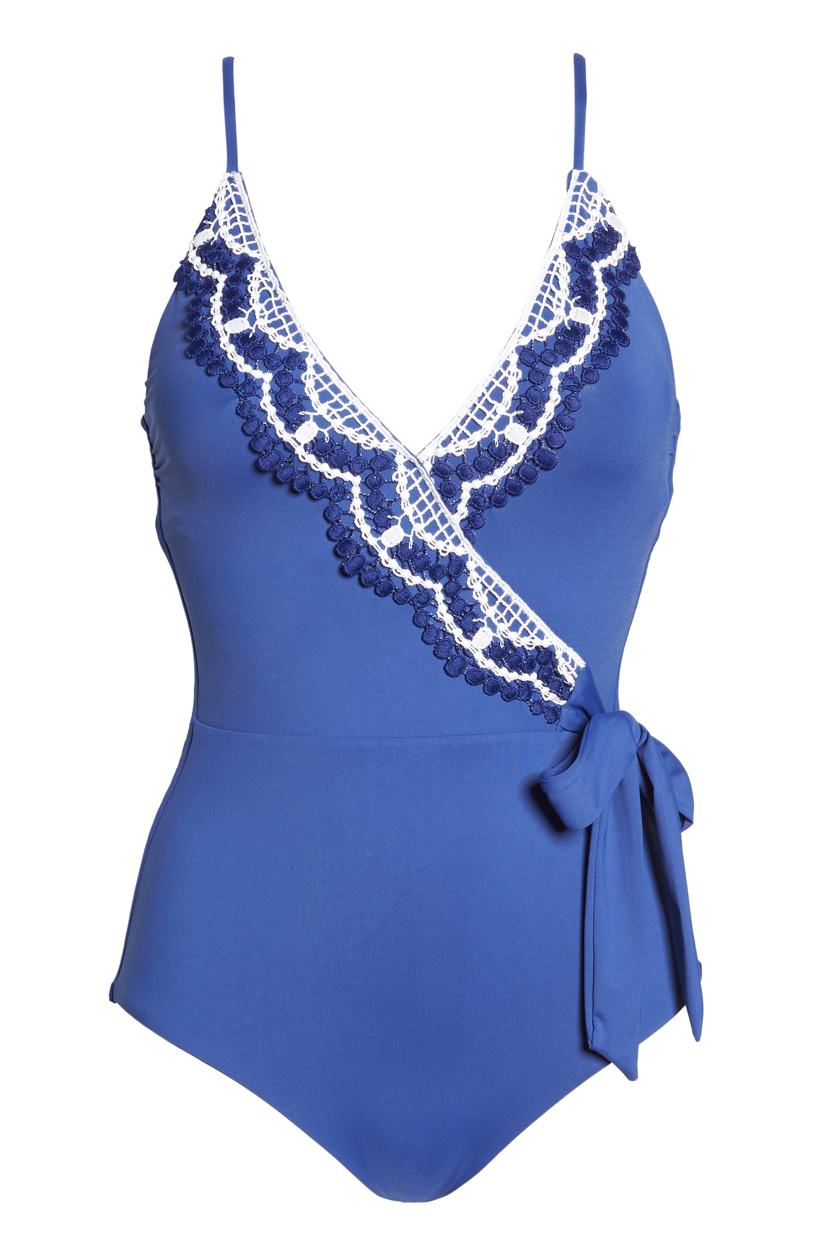 BECCA, Delilah One-Piece Swimsuit, Alternate thumbnail 7, color, BLUE TOPAZ