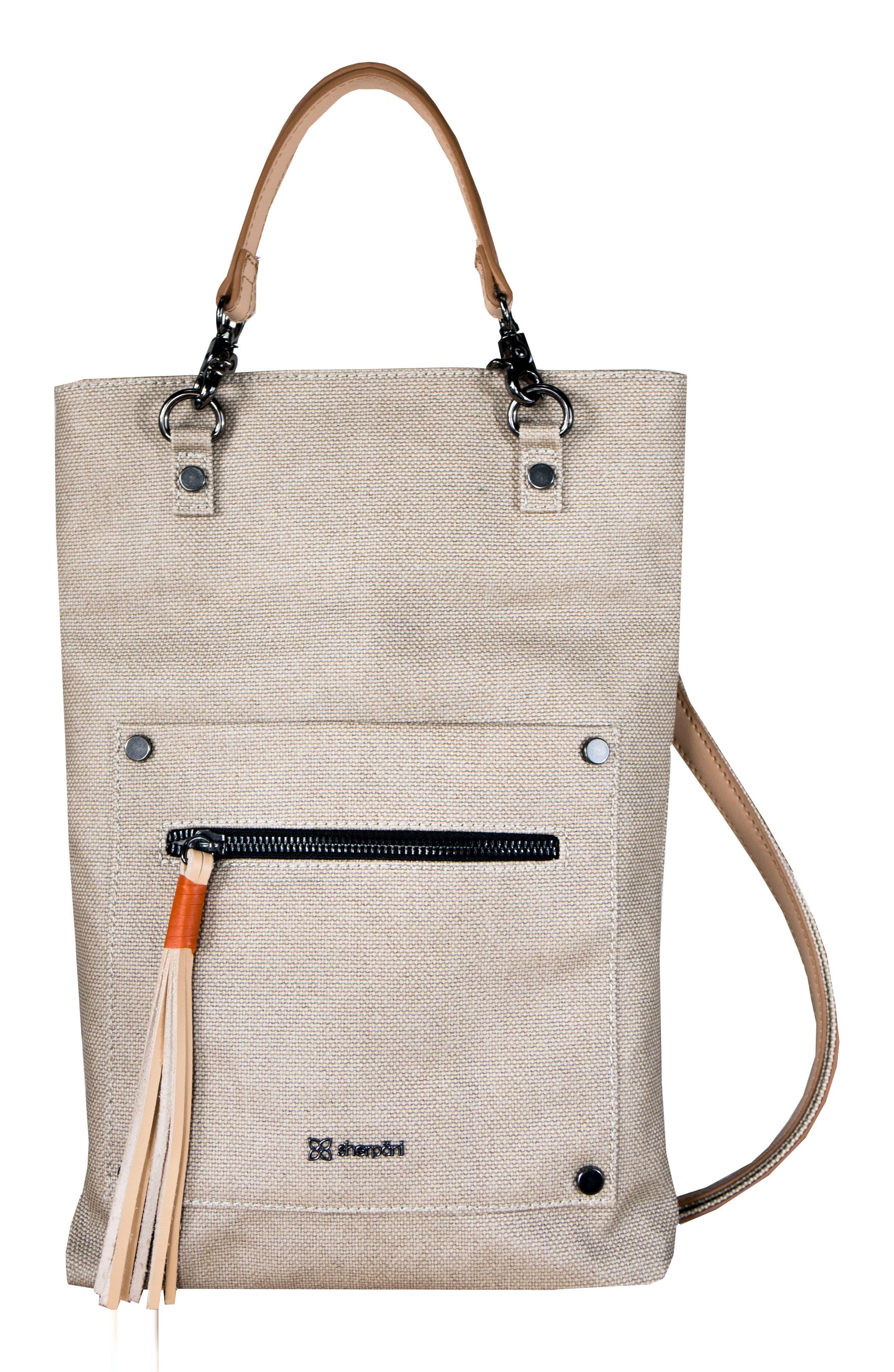SHERPANI, Rebel Coated Canvas Crossbody Bag, Alternate thumbnail 4, color, NATURAL