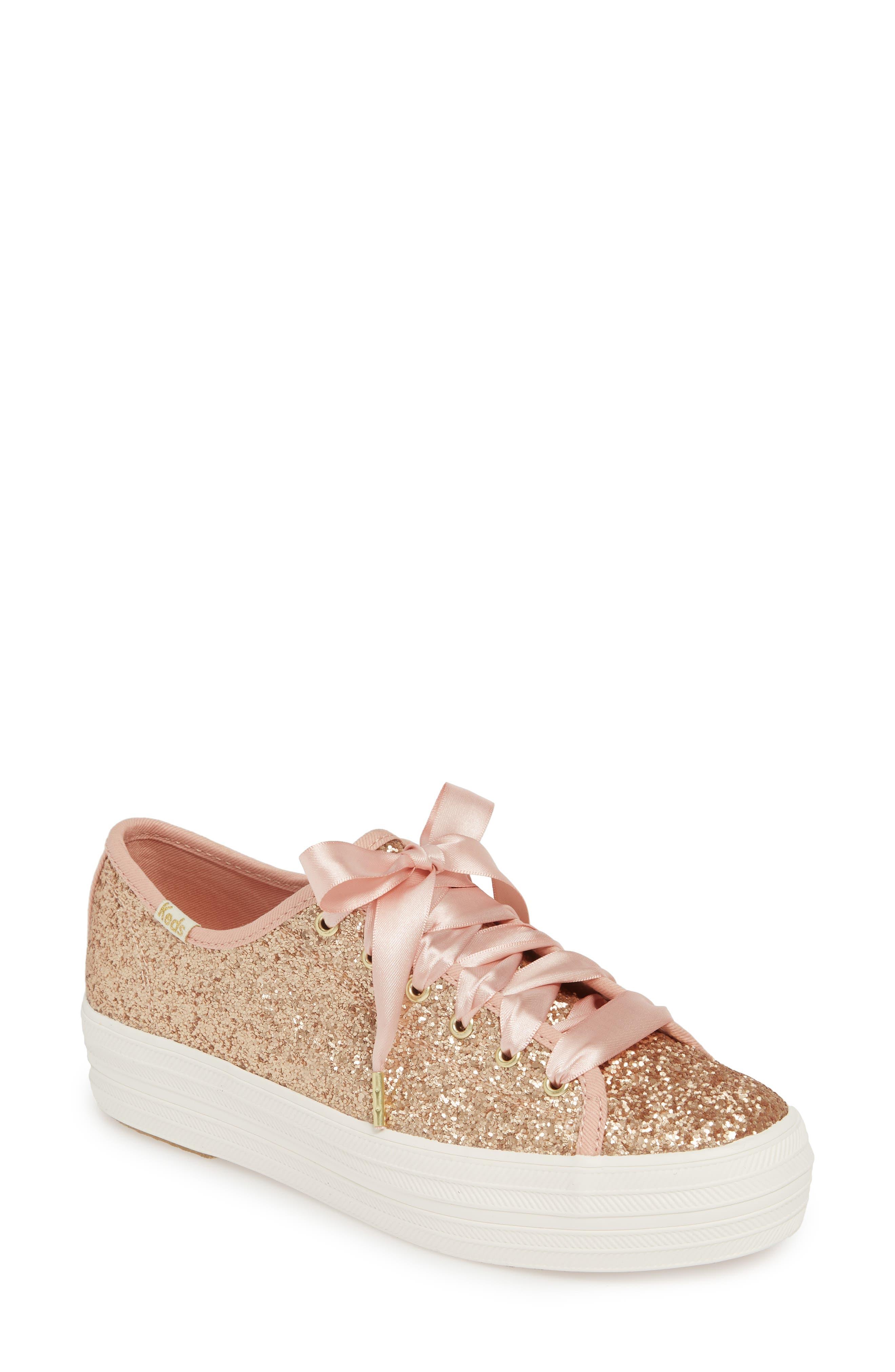 KEDS<SUP>®</SUP> FOR KATE SPADE NEW YORK Keds<sup>®</sup> x kate spade new york Triple Kick Glitter Sneaker, Main, color, ROSE GOLD