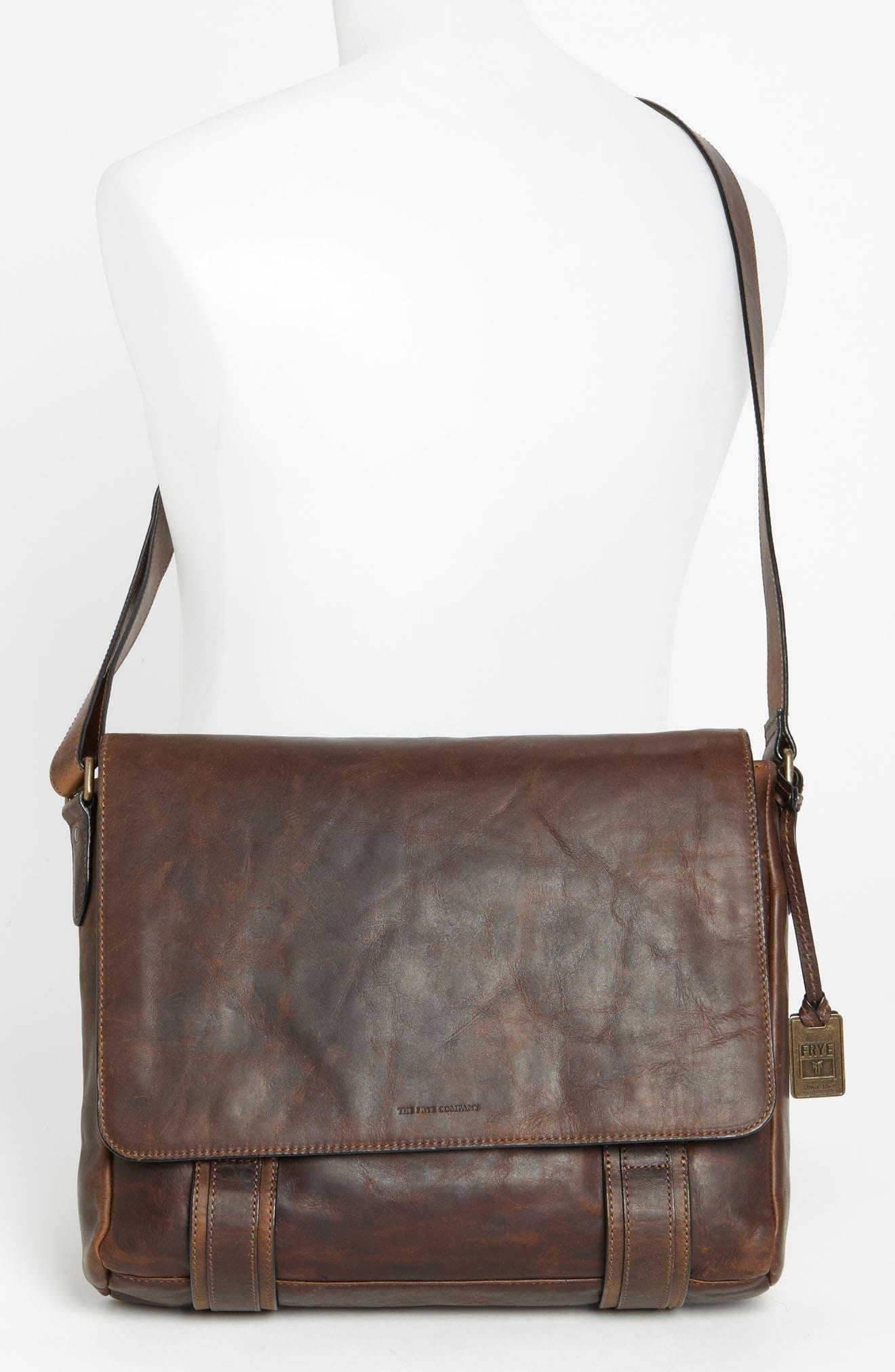FRYE, 'Logan' Messenger Bag, Alternate thumbnail 2, color, ANTIQUE DARK BROWN