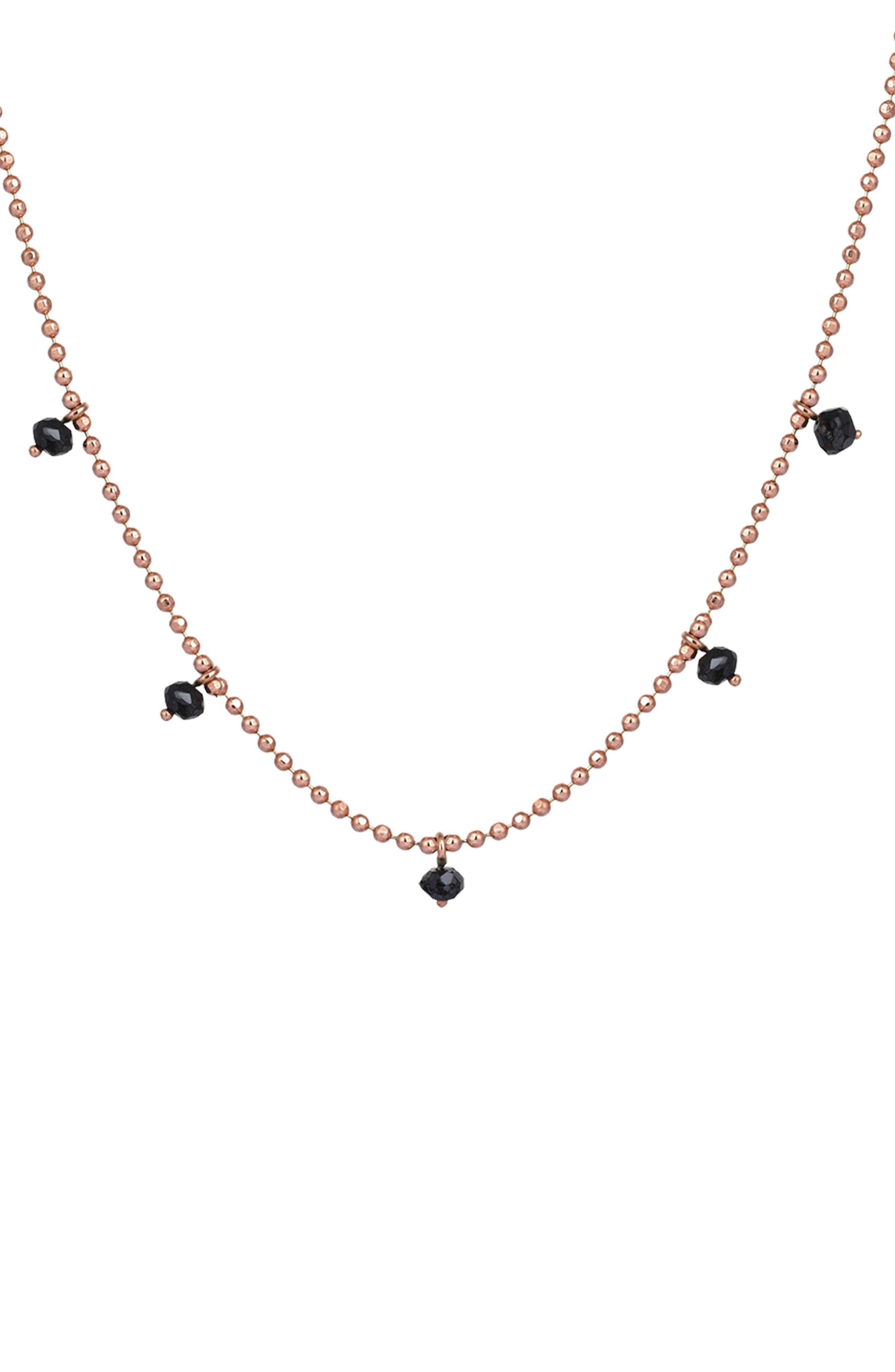 KISMET BY MILKA Black Diamond Pendant Necklace, Main, color, ROSE GOLD