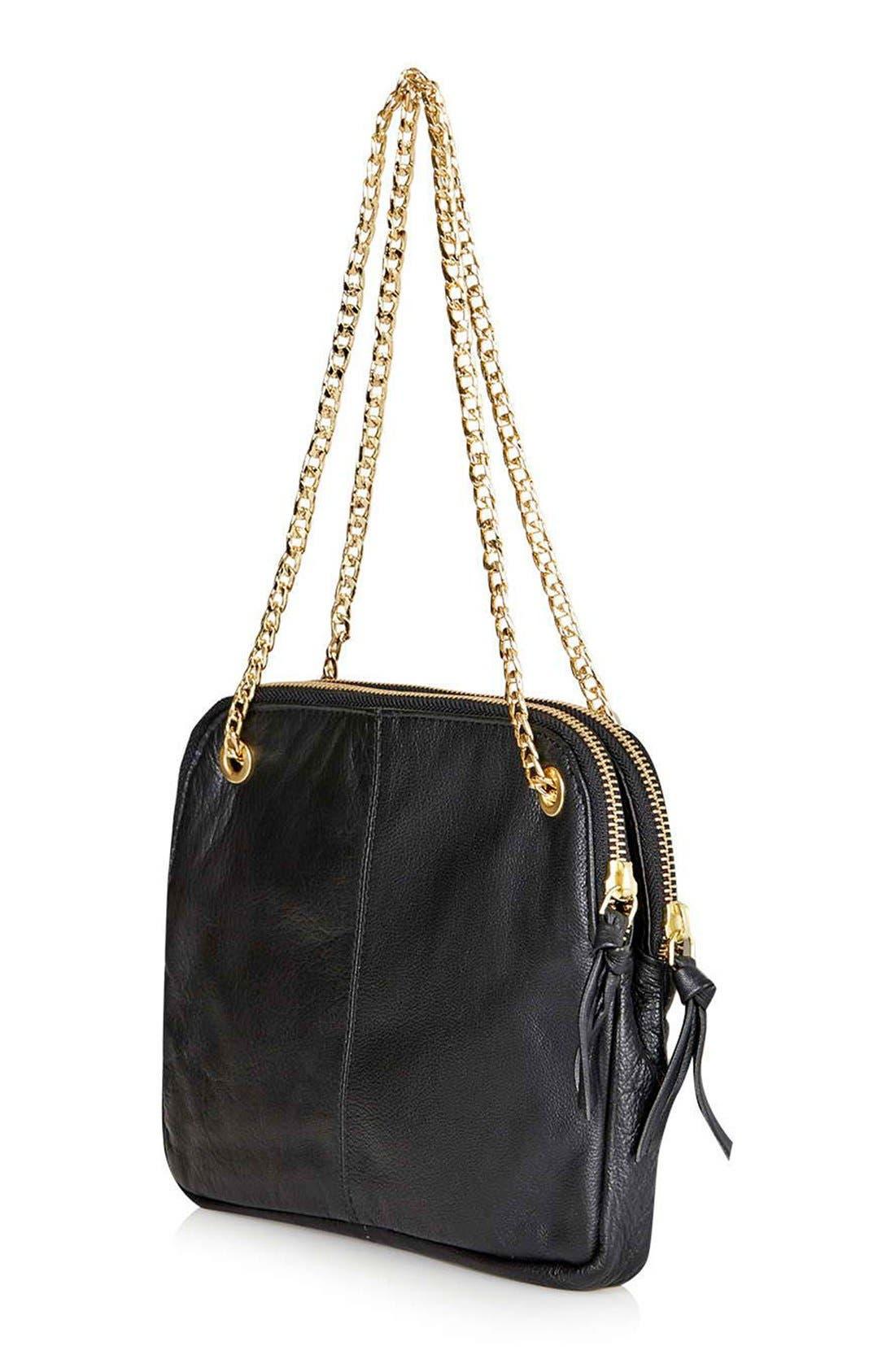 TOPSHOP, Quilted Leather Shoulder Bag, Alternate thumbnail 5, color, 001