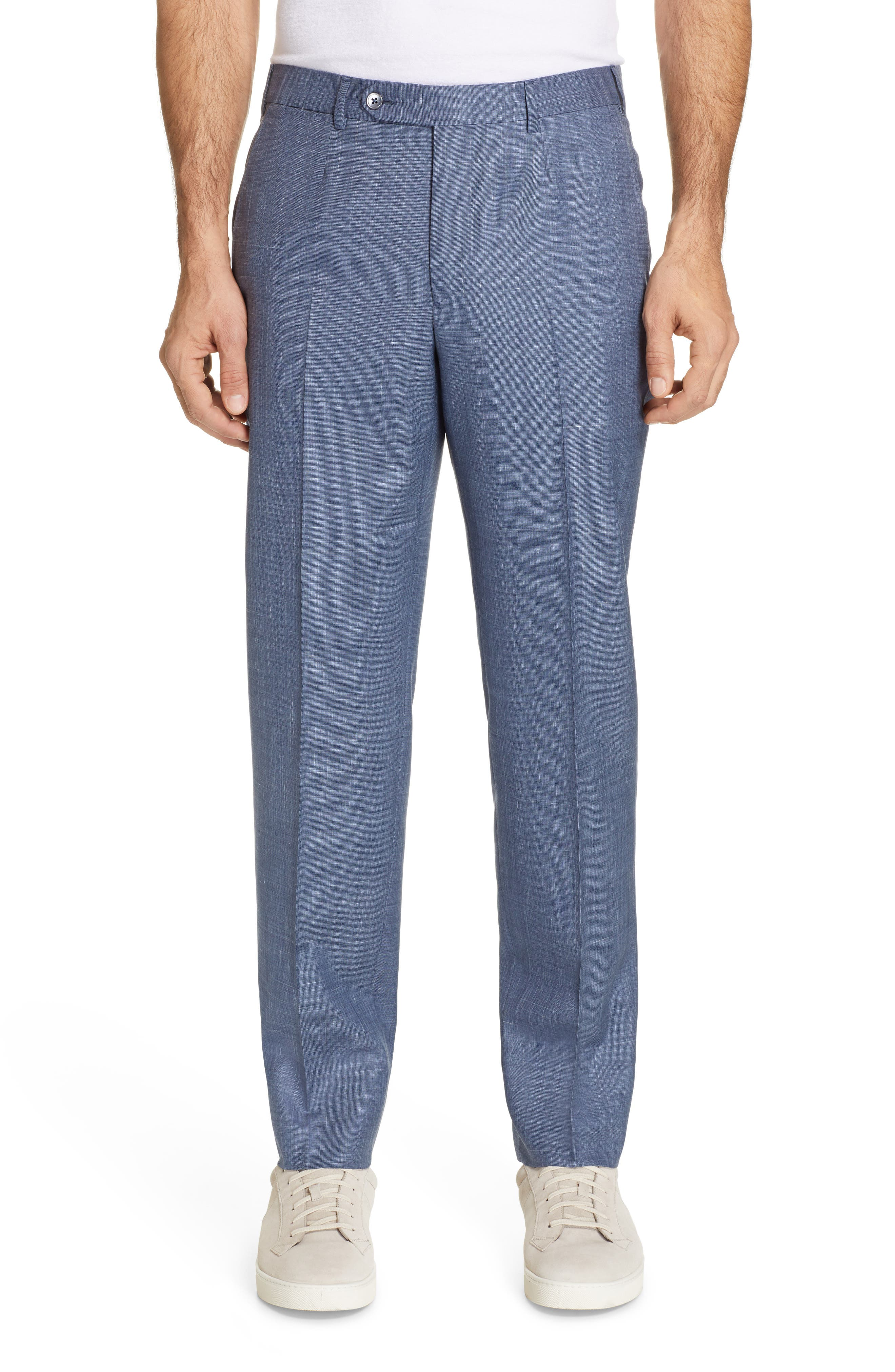 ERMENEGILDO ZEGNA, Trofeo Classic Fit Solid Wool Blend Suit, Alternate thumbnail 6, color, BLUE