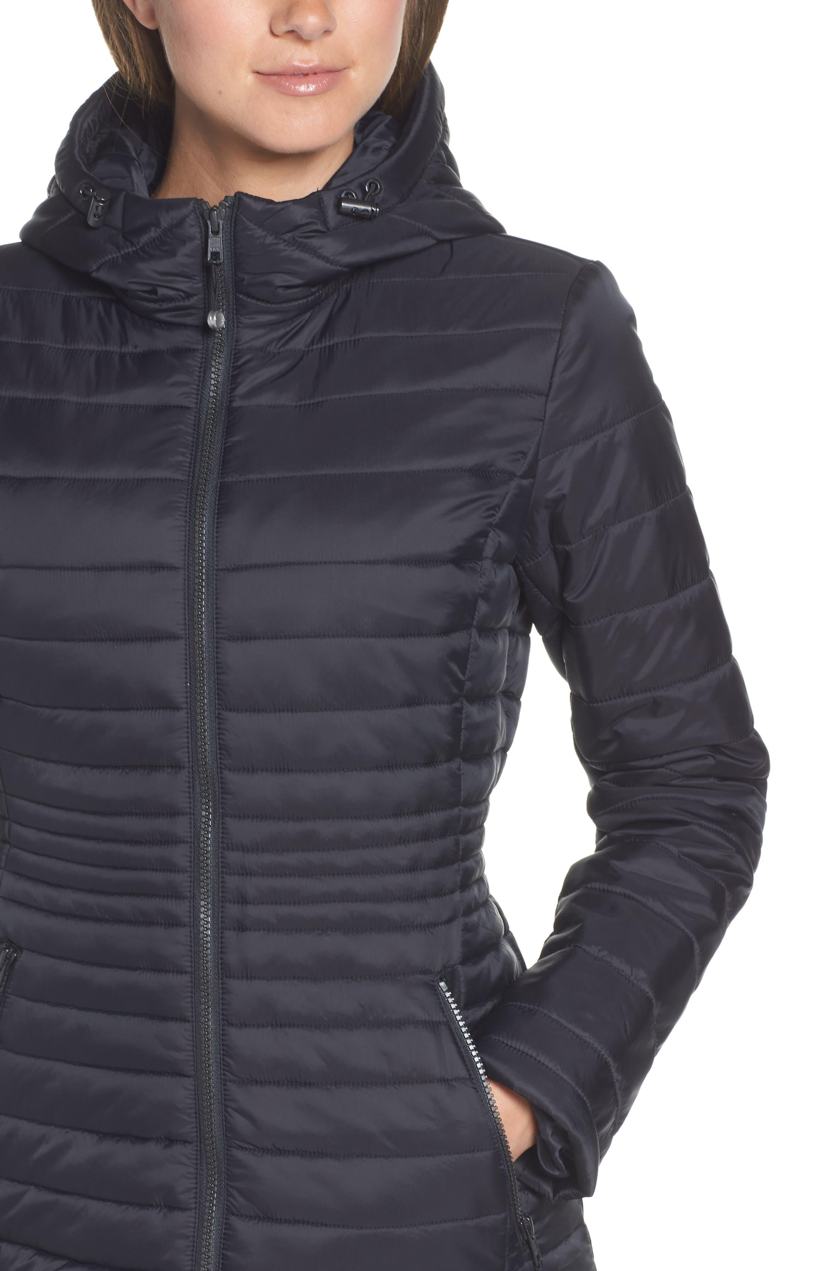 ZELLA, City Dweller Water Resistant Puffer Jacket, Alternate thumbnail 5, color, 001