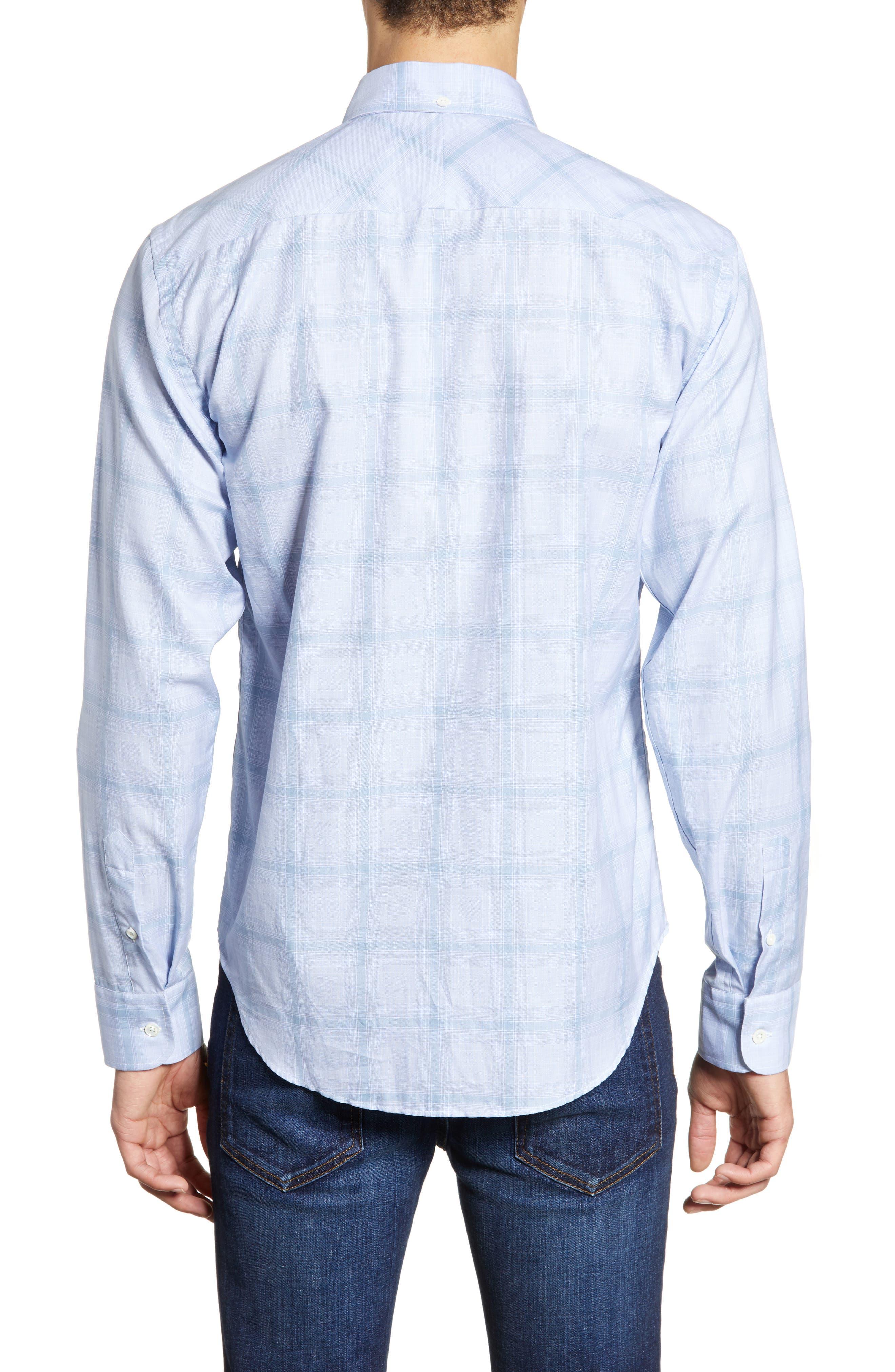 BILLY REID, Kirby Slim Fit Sport Shirt, Alternate thumbnail 3, color, BLUE