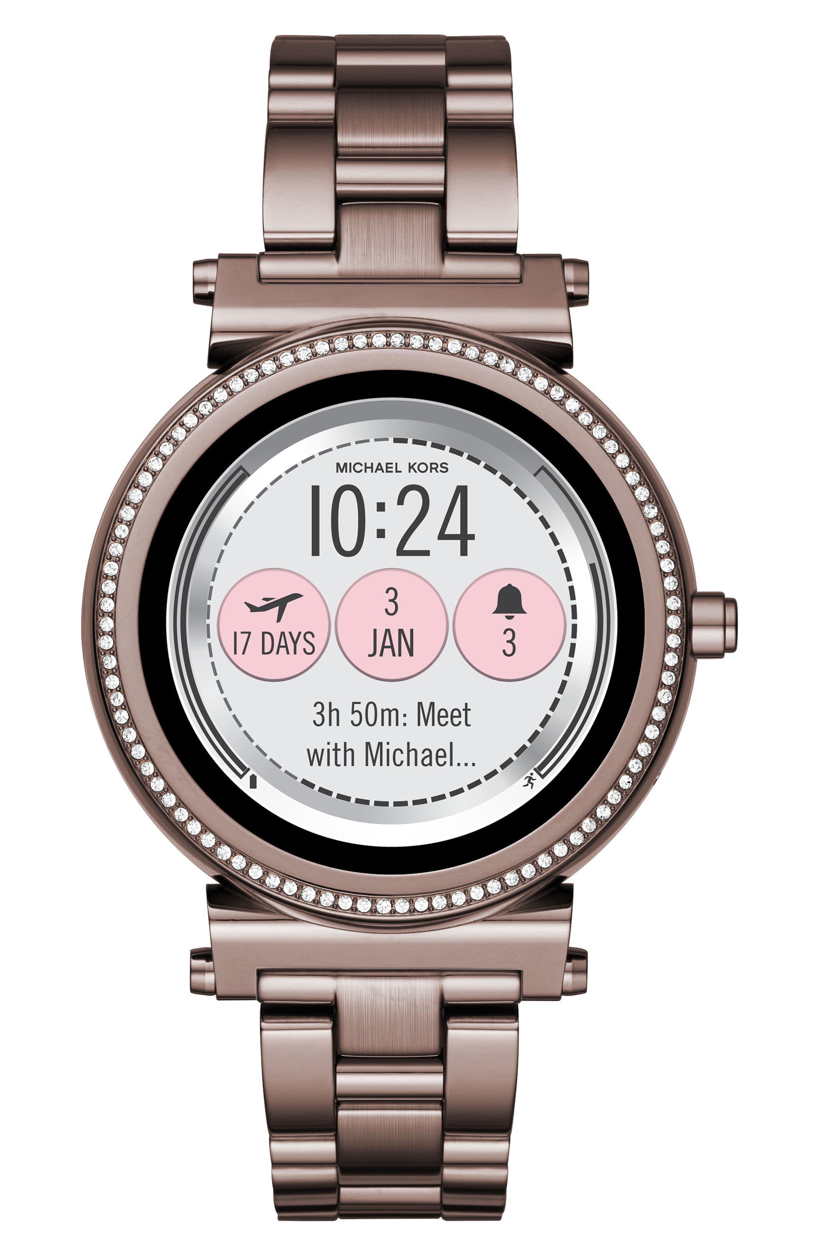 MICHAEL KORS ACCESS, Sofie Smart Bracelet Watch, 42mm, Alternate thumbnail 5, color, SABLE