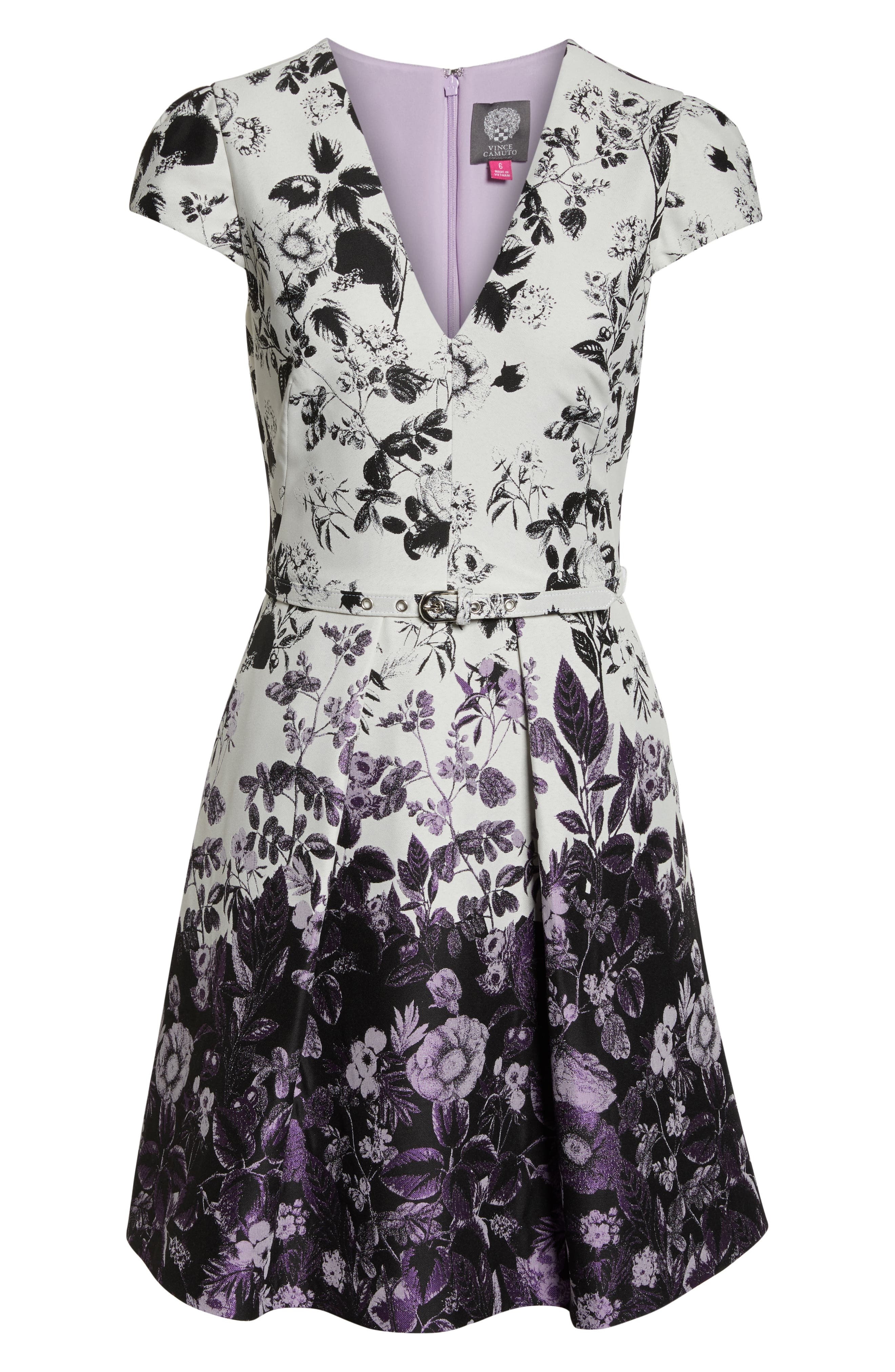 VINCE CAMUTO, Floral Jacquard Fit and Flare Dress, Alternate thumbnail 7, color, PURPLE MULTI