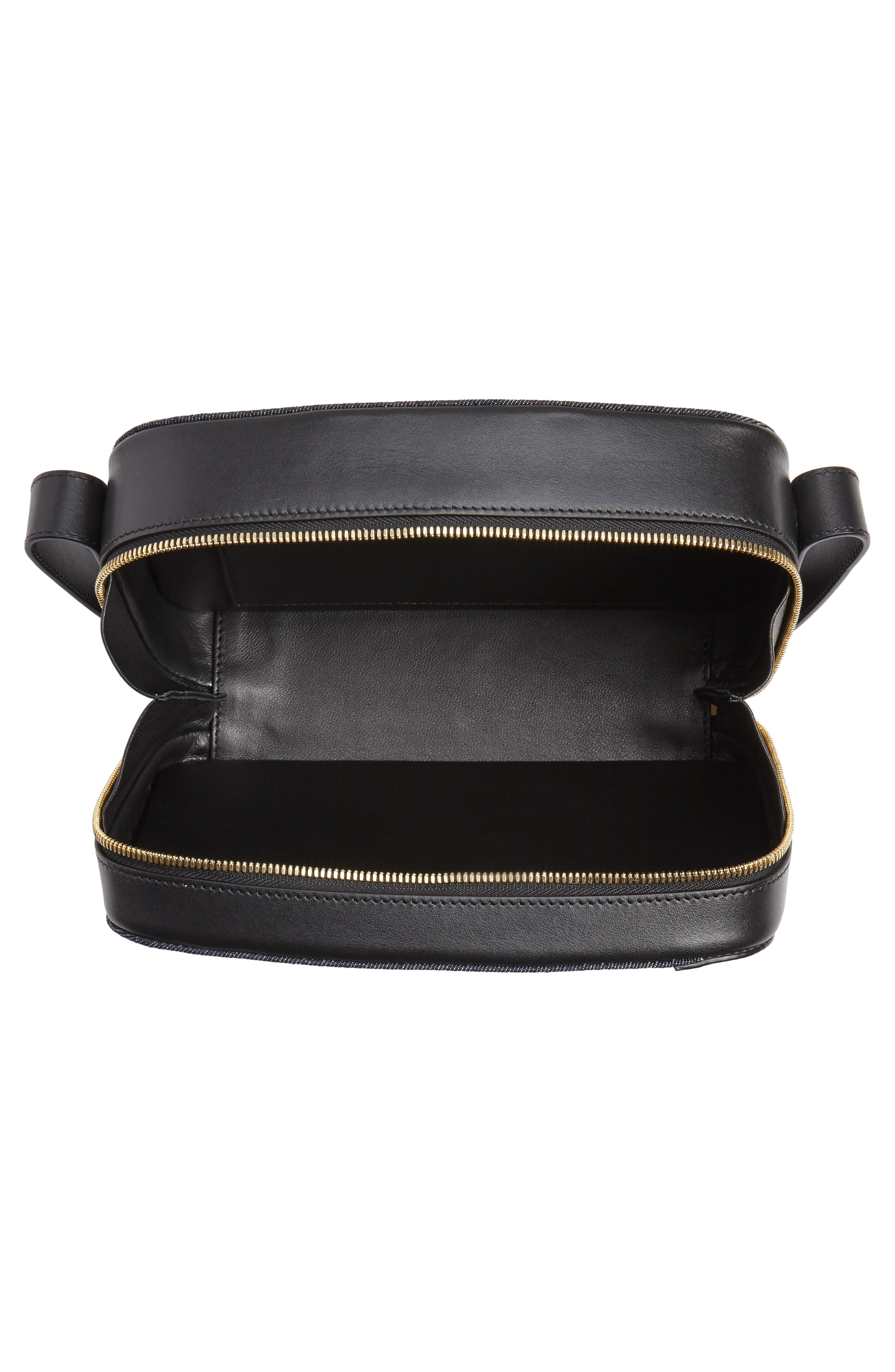 VICTORIA BECKHAM, Vanity Denim & Leather Camera Bag, Alternate thumbnail 4, color, INDIGO/ BLACK
