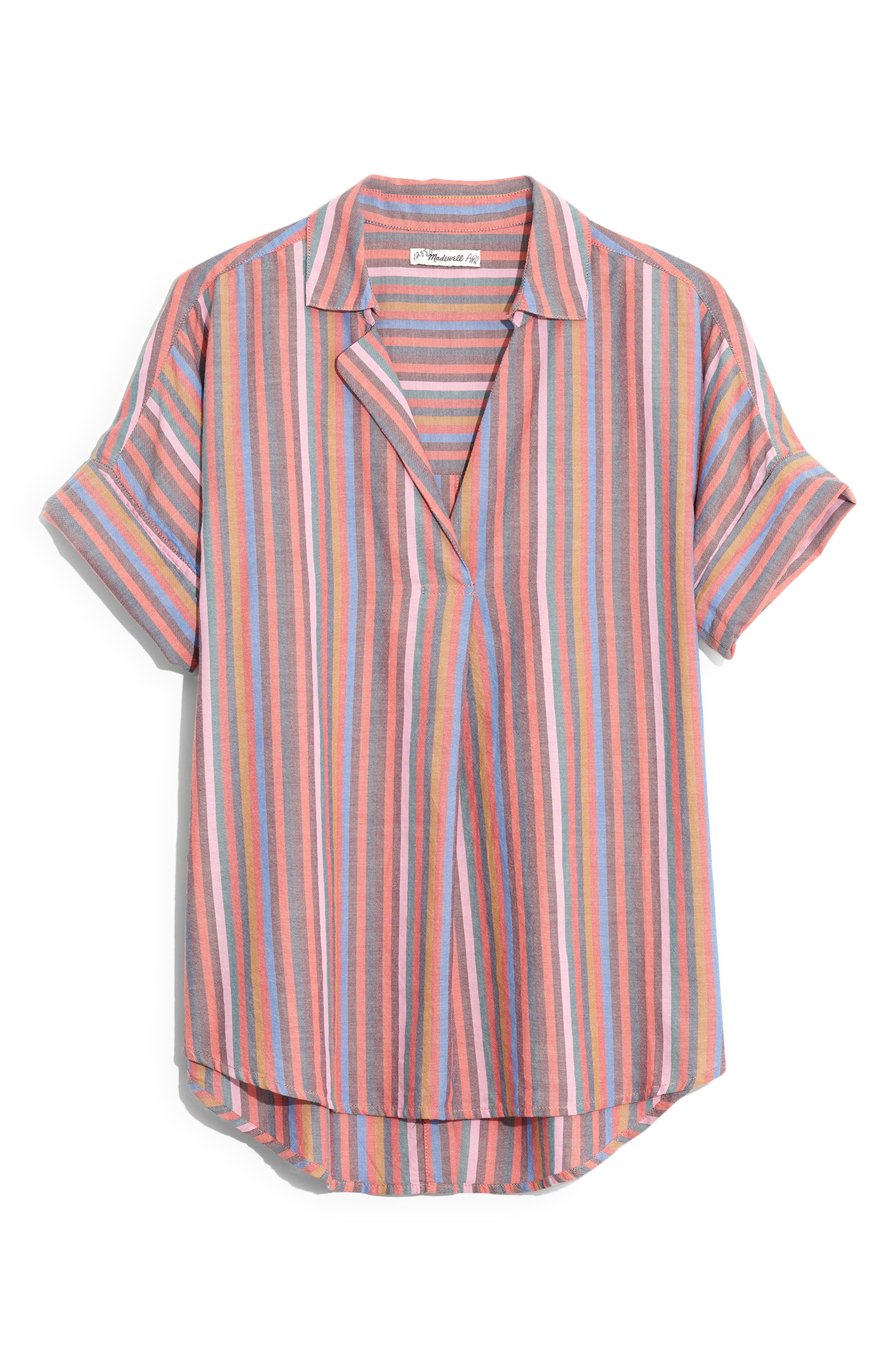 MADEWELL, Courier Rainbow Stripe Button Back Shirt, Alternate thumbnail 5, color, MULLED WINE SMITH STRIPE