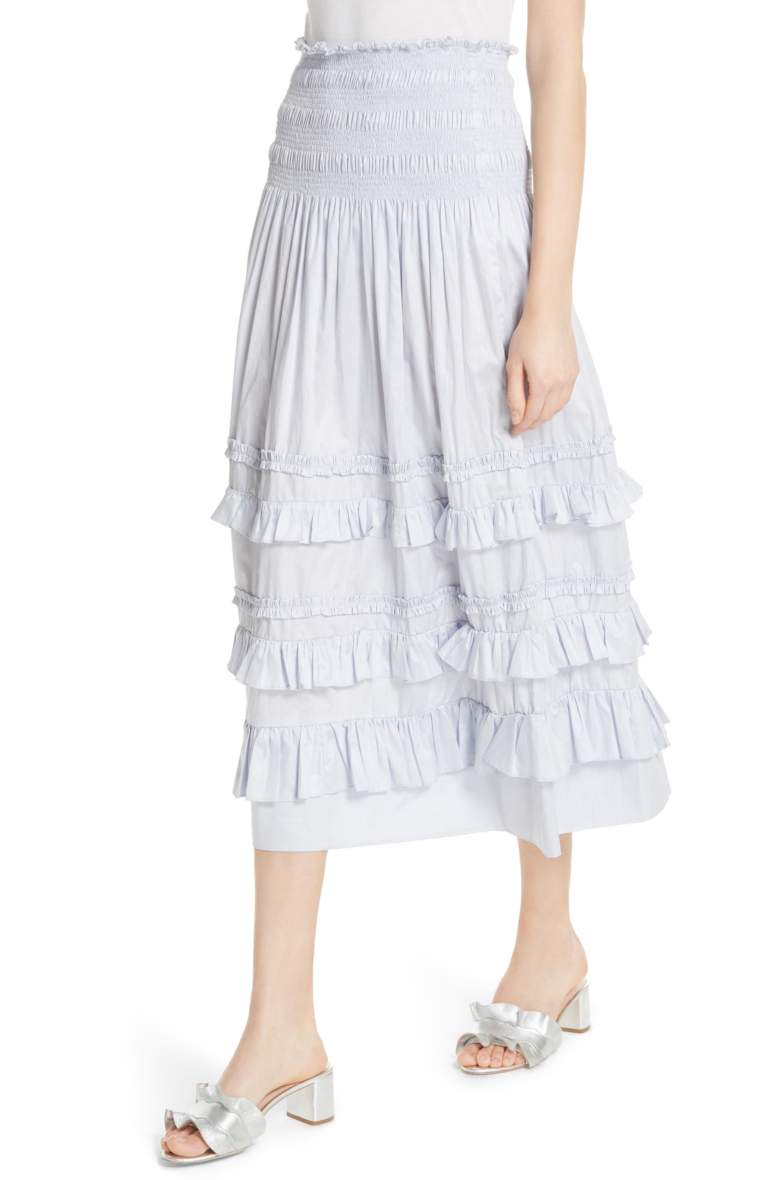 REBECCA TAYLOR, Ruffle Trim Midi Skirt, Alternate thumbnail 4, color, 458