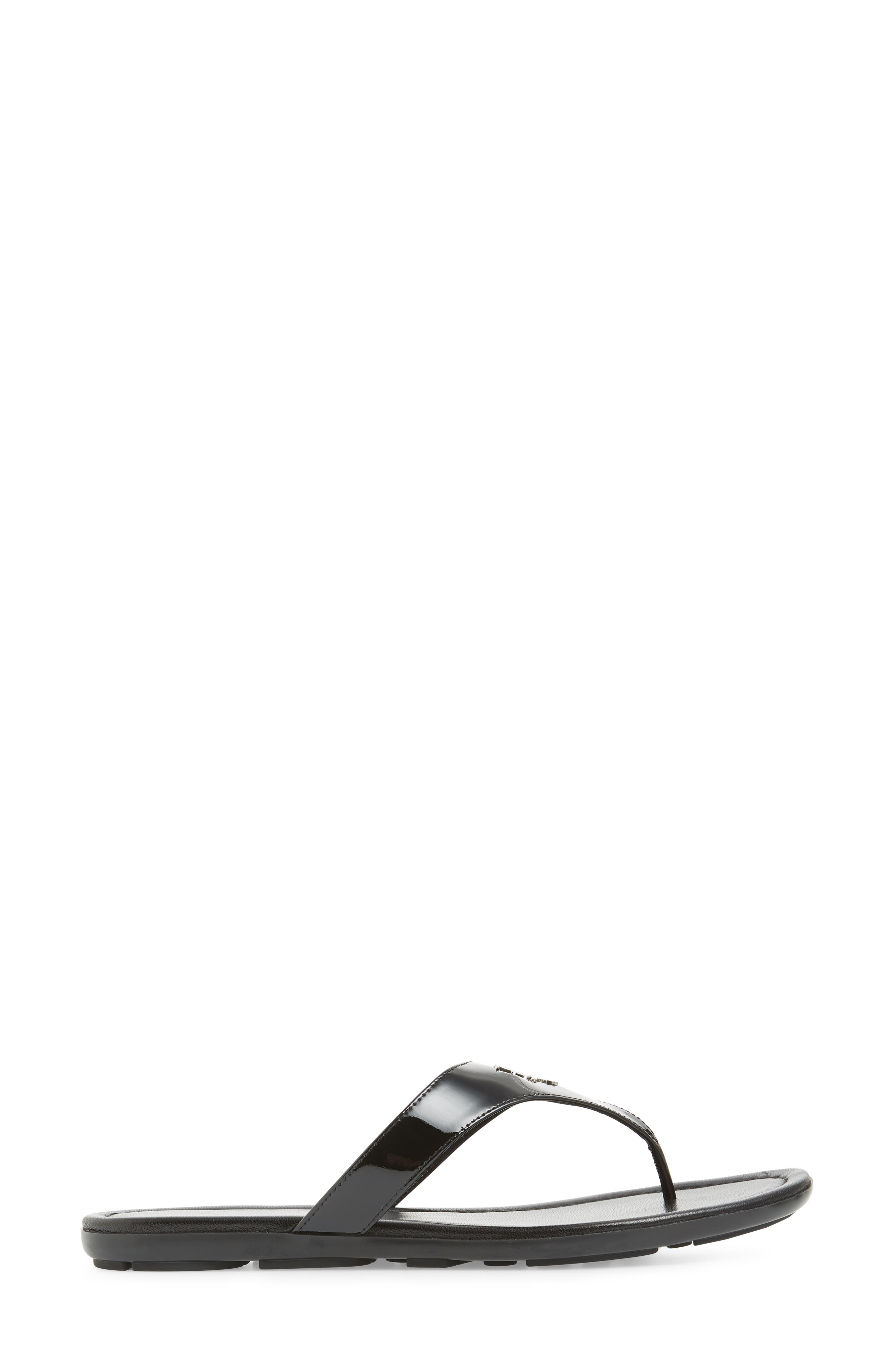 PRADA, Logo Flip Flop, Alternate thumbnail 3, color, BLACK