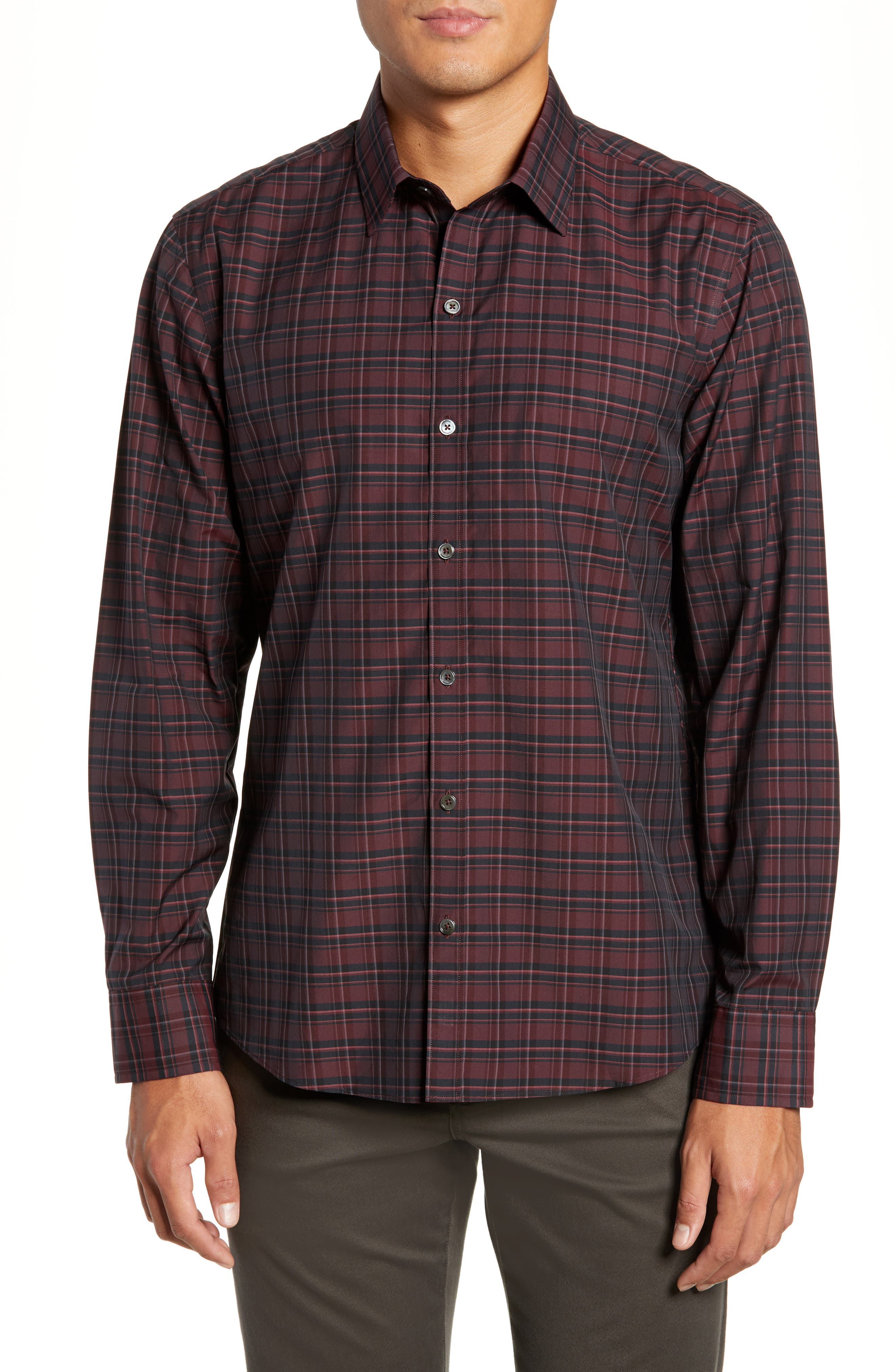 ZACHARY PRELL Sunny Regular Fit Sport Shirt, Main, color, RUBY