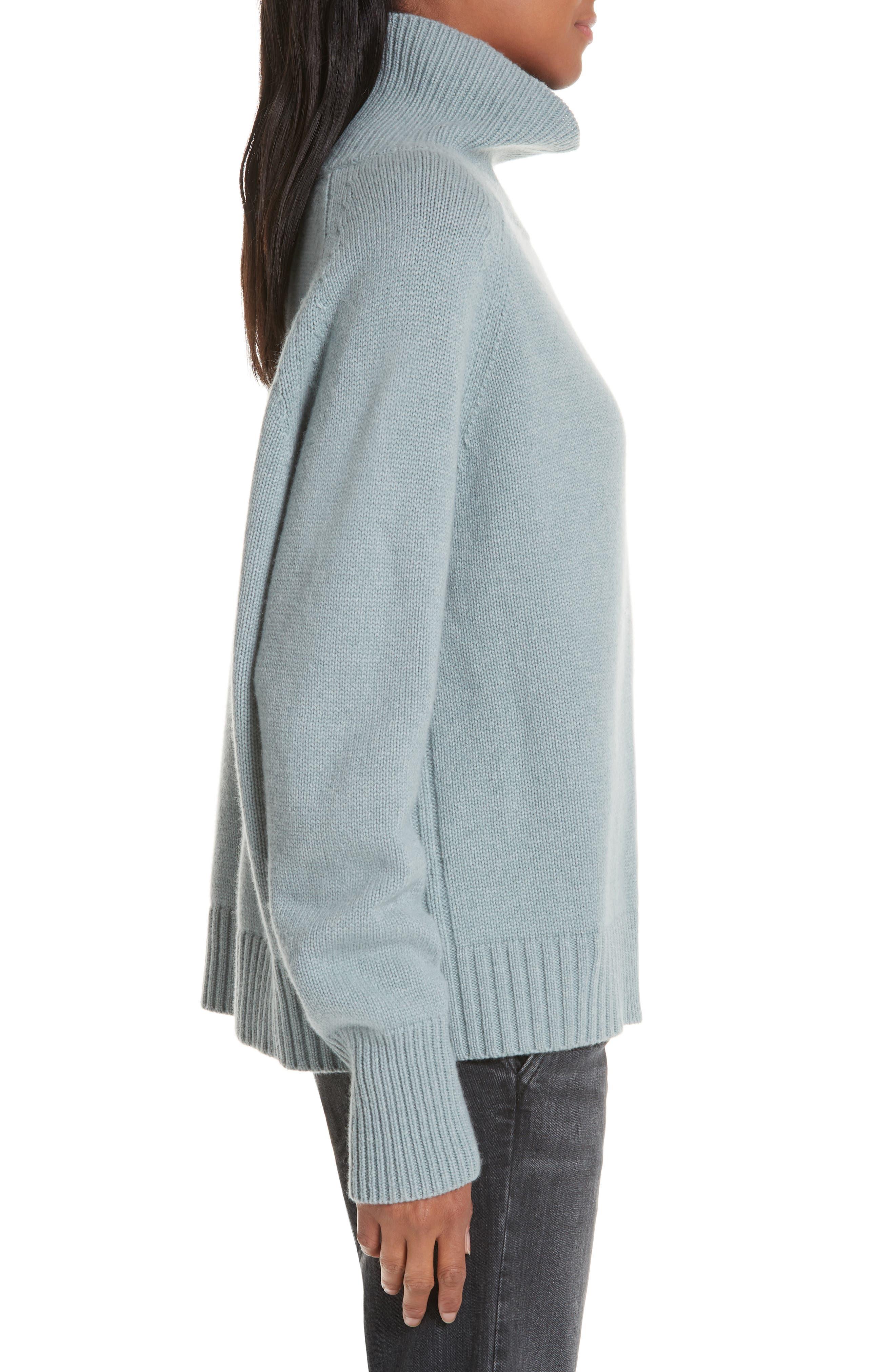 NILI LOTAN, Mariah Funnel Neck Cashmere Sweater, Alternate thumbnail 3, color, SKY BLUE