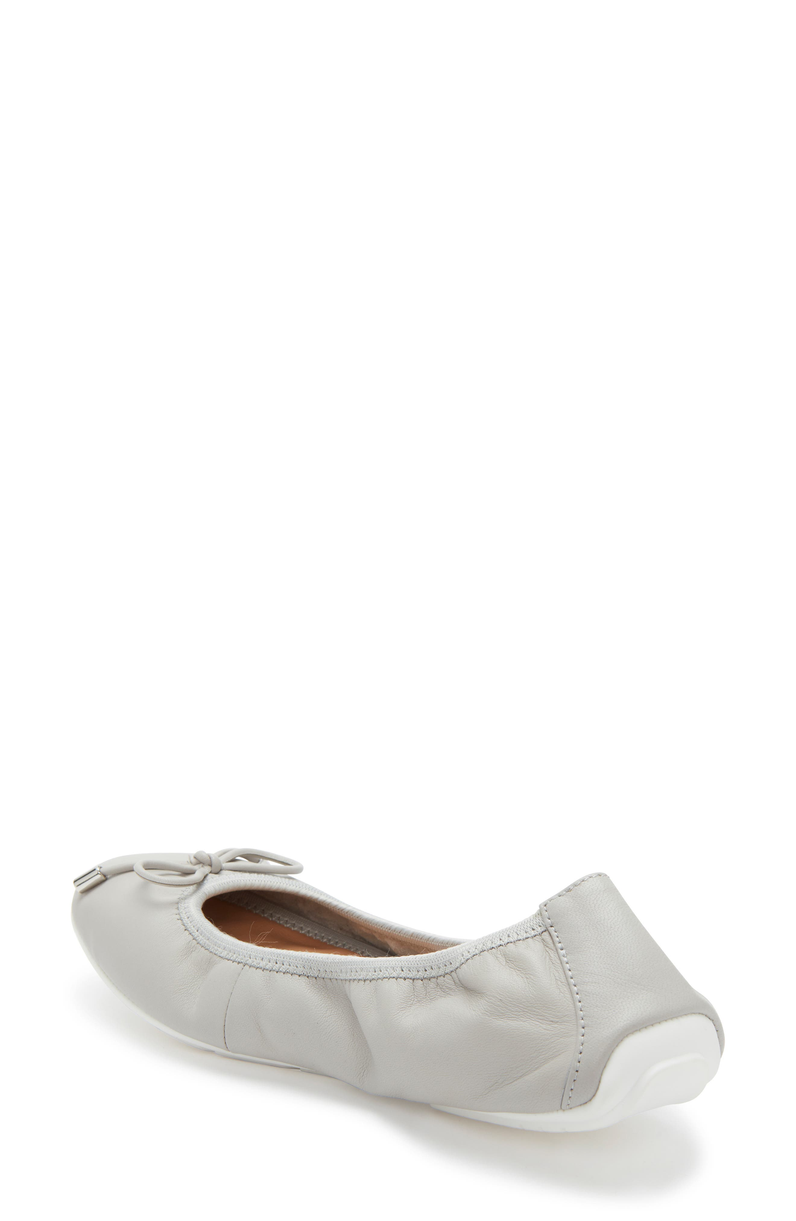 ME TOO, 'Halle 2.0' Ballet Flat, Alternate thumbnail 2, color, LIGHT GREY LEATHER