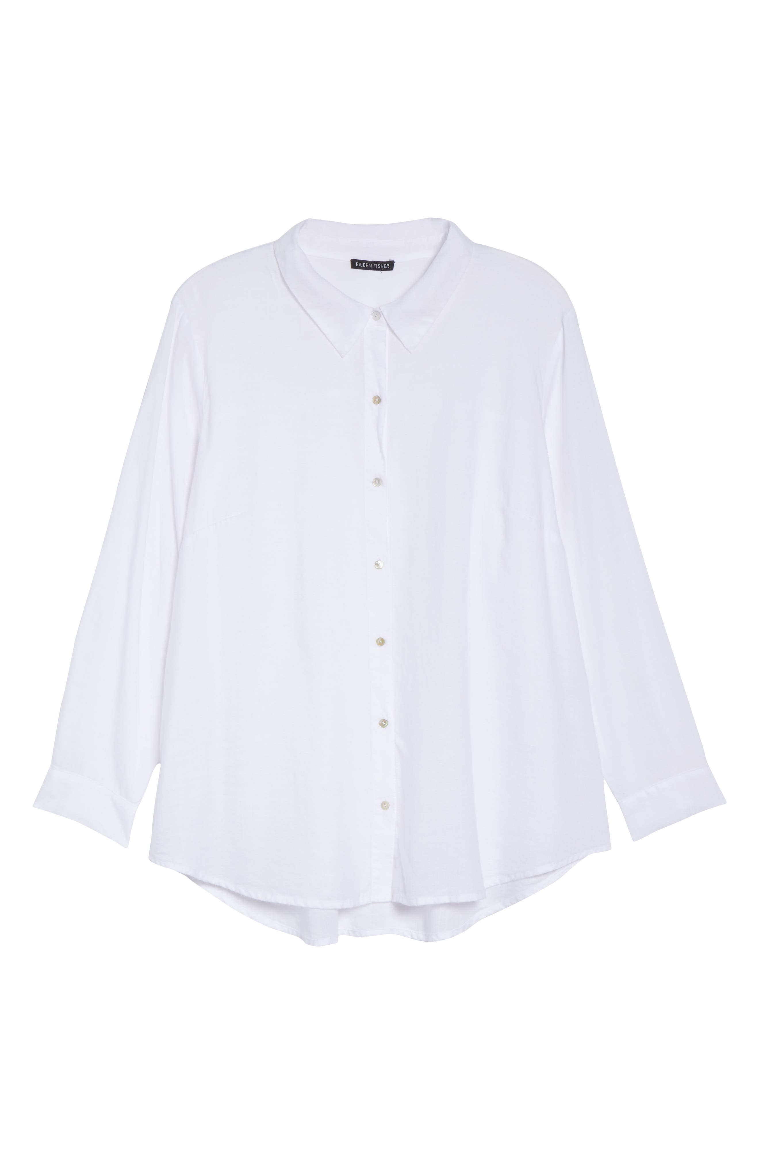 EILEEN FISHER, Tencel<sup>®</sup> Lyocell Shirt, Alternate thumbnail 6, color, WHITE