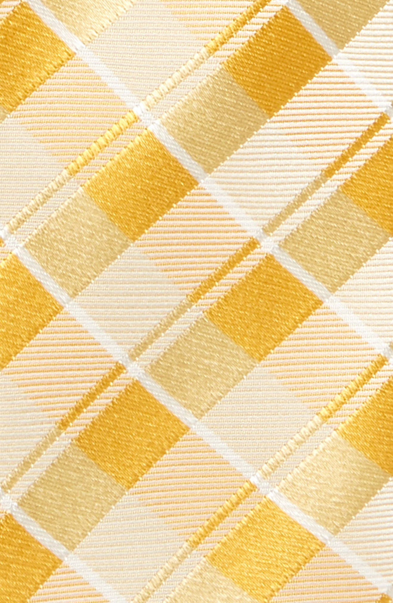 NORDSTROM, Murphy Plaid Silk Tie, Alternate thumbnail 2, color, YELLOW