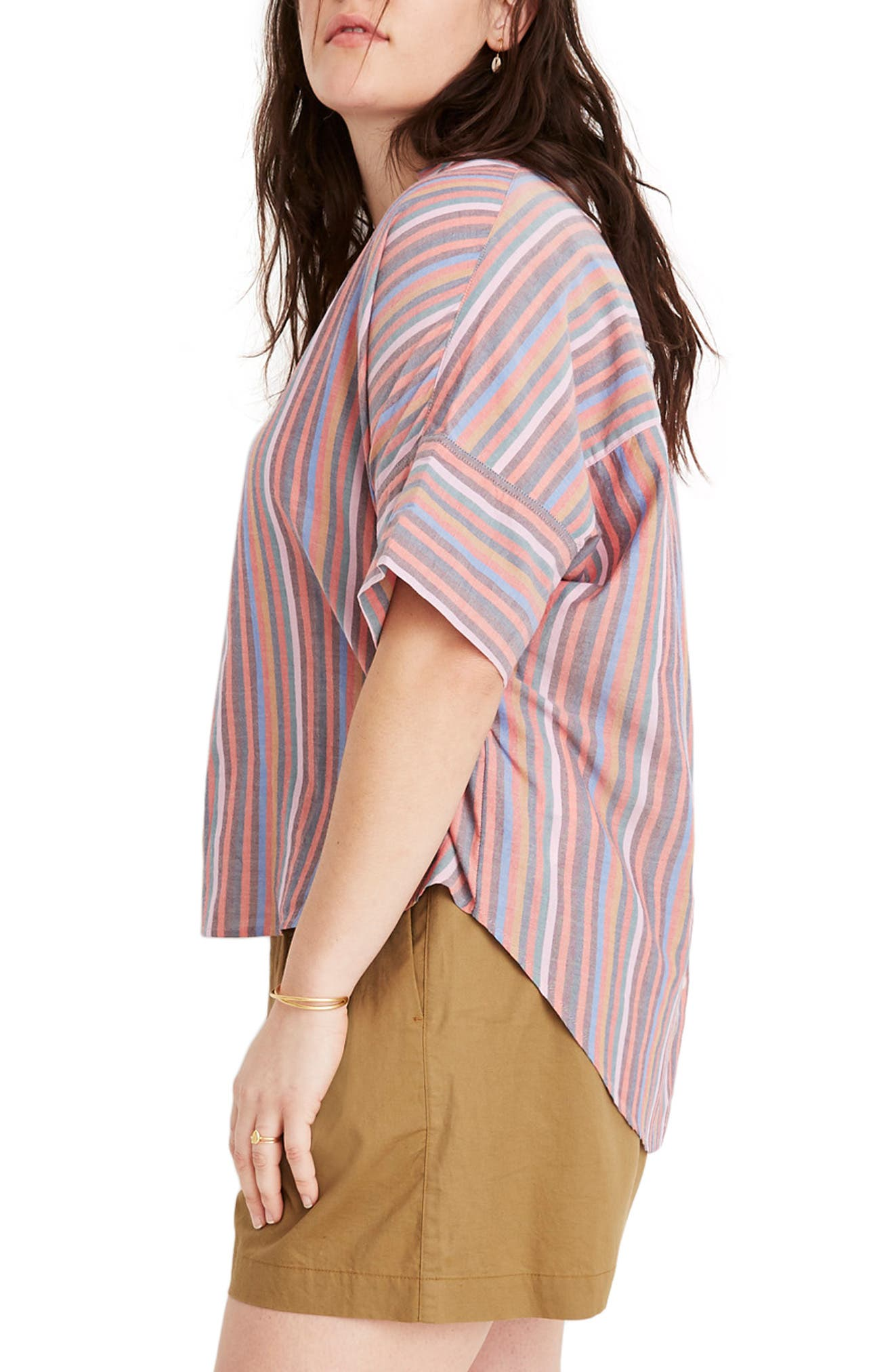 MADEWELL, Courier Rainbow Stripe Button Back Shirt, Alternate thumbnail 7, color, MULLED WINE SMITH STRIPE