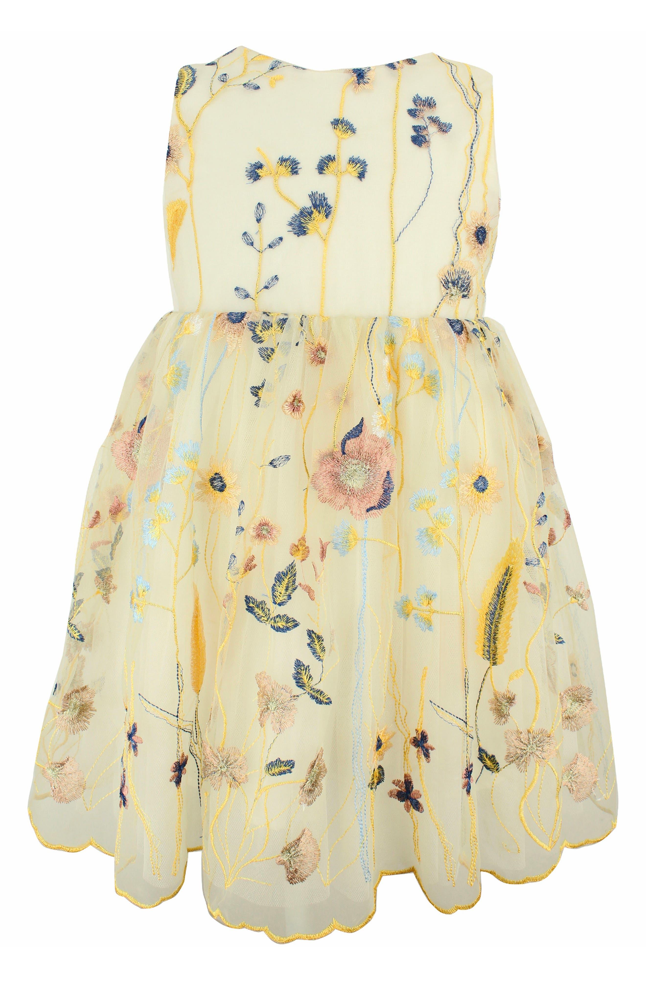 POPATU Embroidered Tulle Dress, Main, color, CREAM