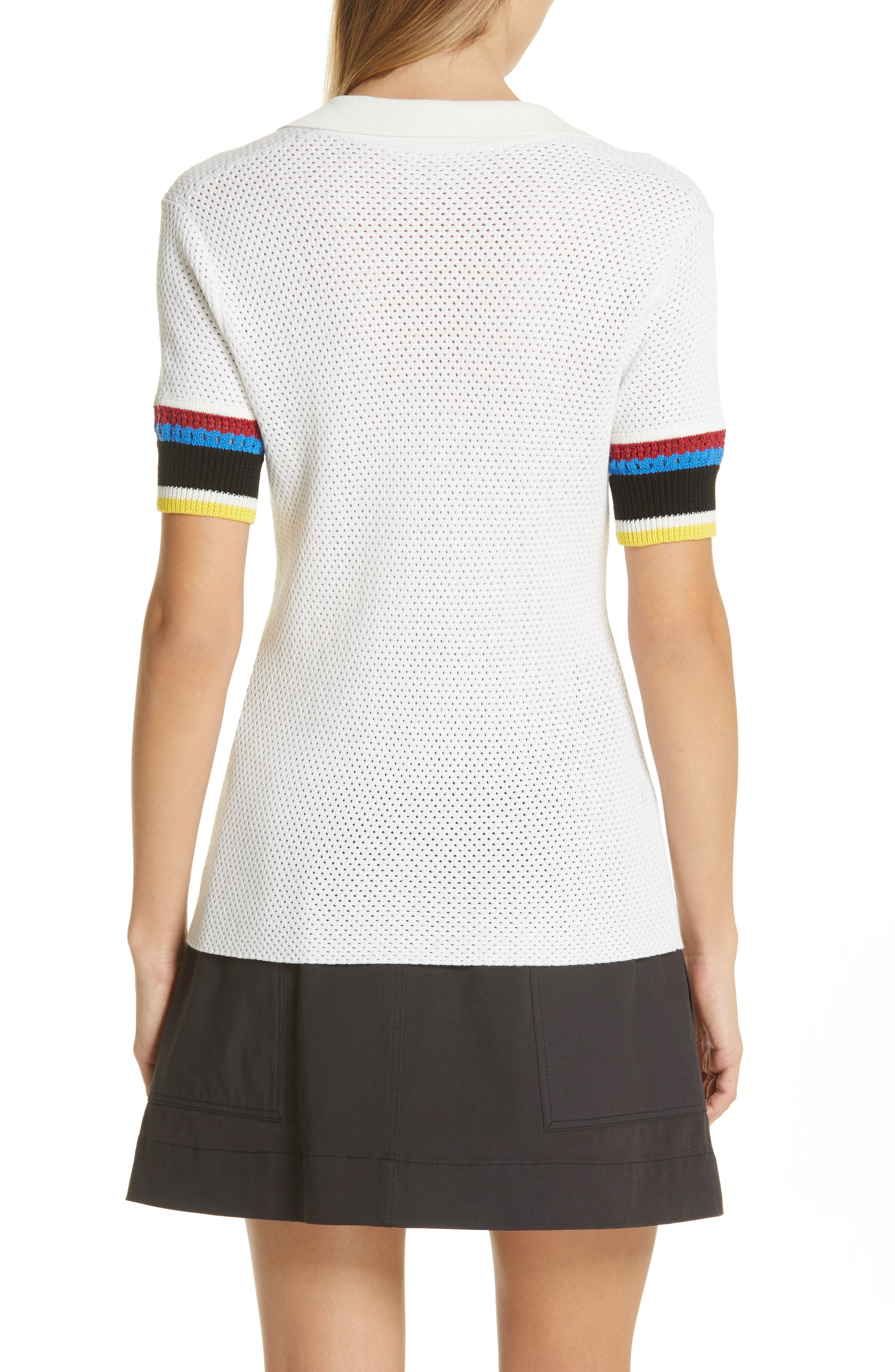 PROENZA SCHOULER, PSWL Stripe Sleeve Polo Top, Alternate thumbnail 2, color, OFF WHITE