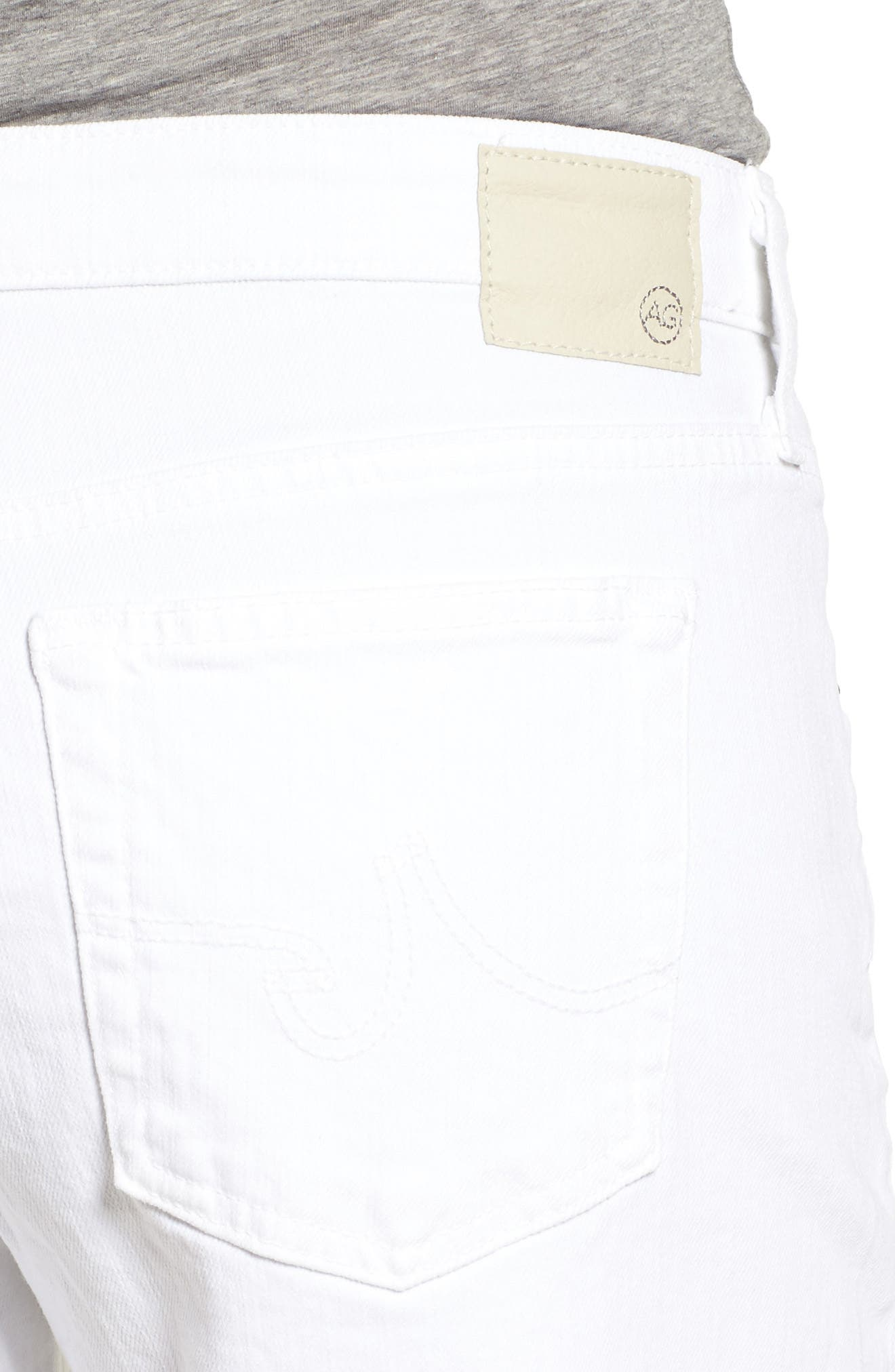 AG, 'Hailey' Boyfriend Shorts, Alternate thumbnail 5, color, WHITE
